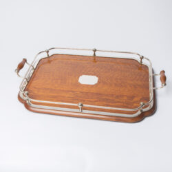 The image for 1900S Silver Plate And Wood Tray 10
