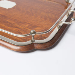 The image for 1900S Silver Plate And Wood Tray 4