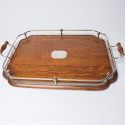 The image for 1900S Silver Plate And Wood Tray 6