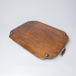 The image for 1900S Silver Plate And Wood Tray 8