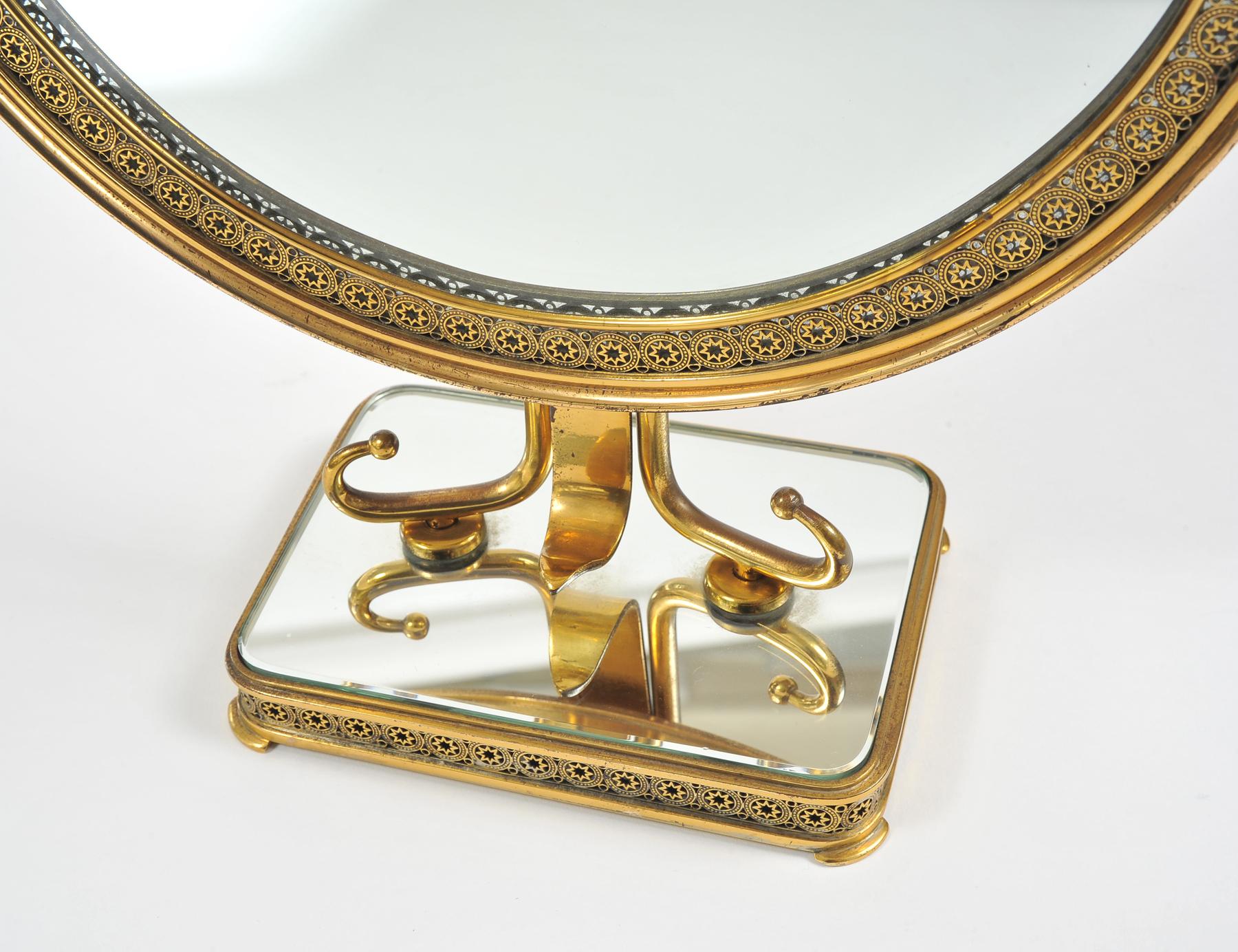 1940S Brass Table Mirror–06