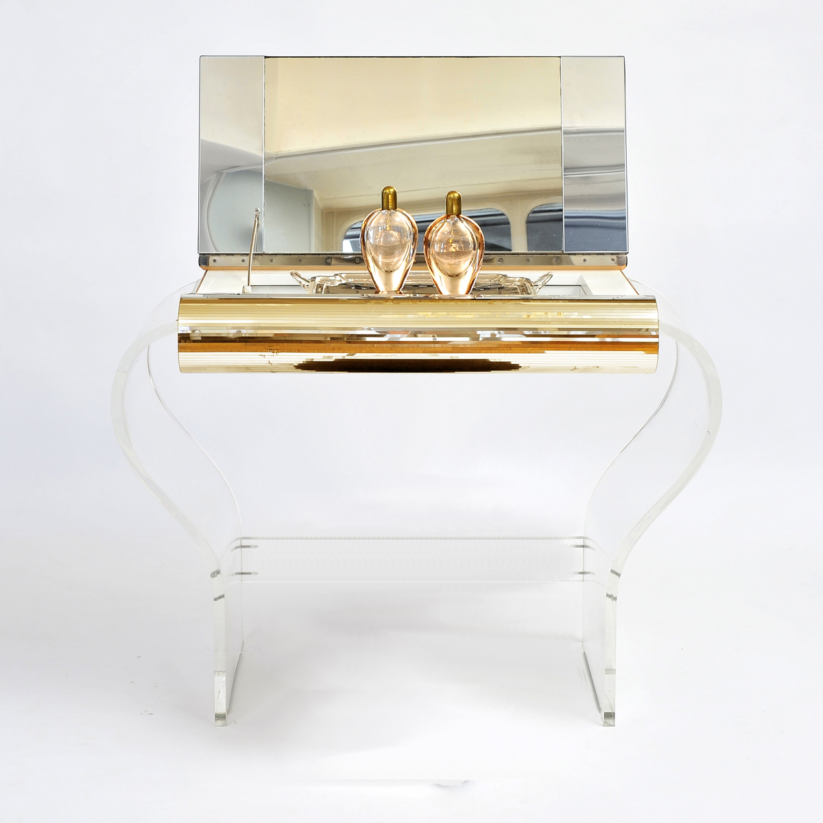 1950S American Lucite Dressing Table Gold Front 01