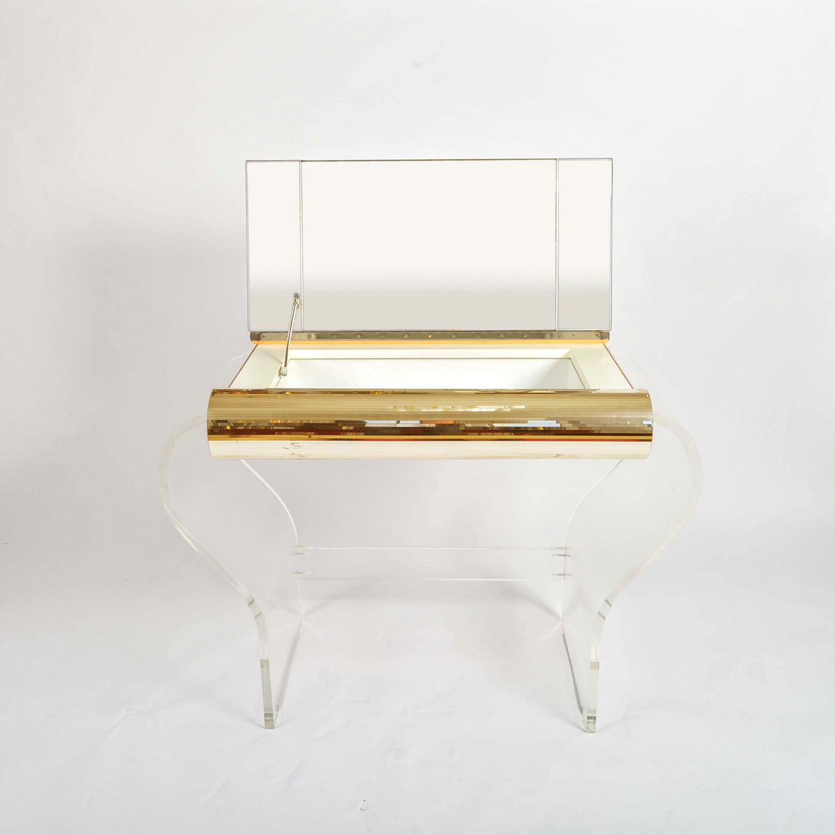 1950S American Lucite Dressing Table Gold Front 02