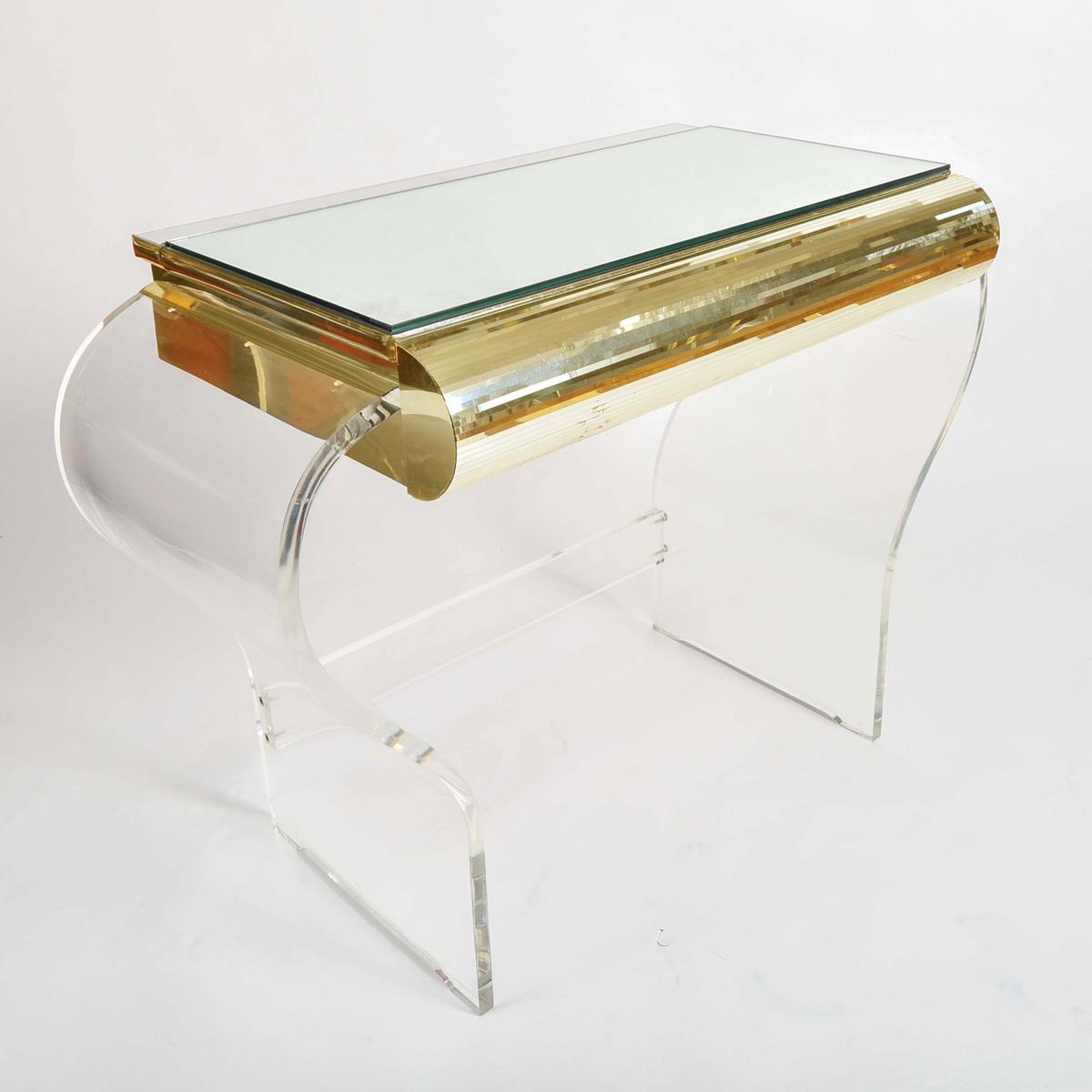 1950S American Lucite Dressing Table Gold Front 03