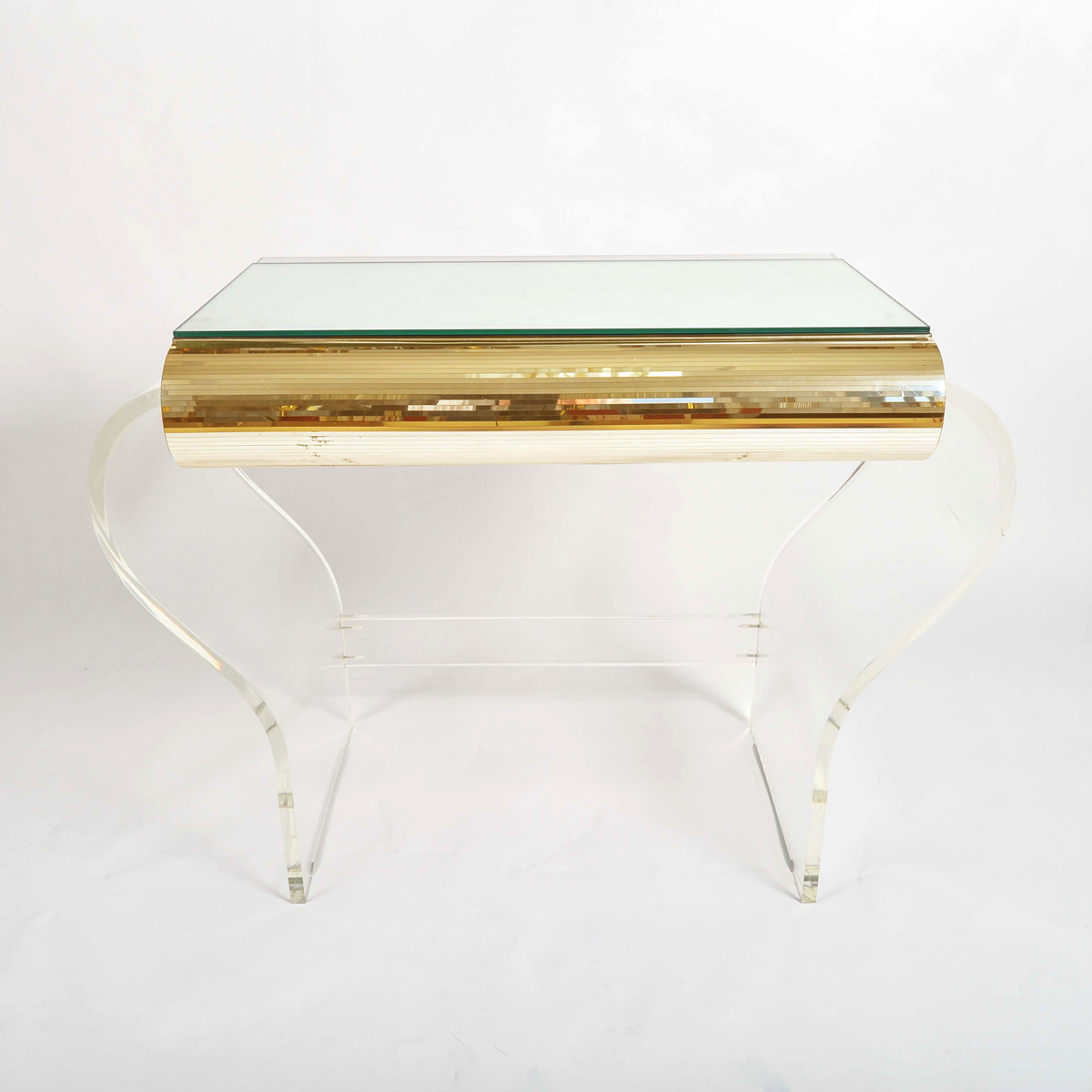 1950S American Lucite Dressing Table Gold Front 04