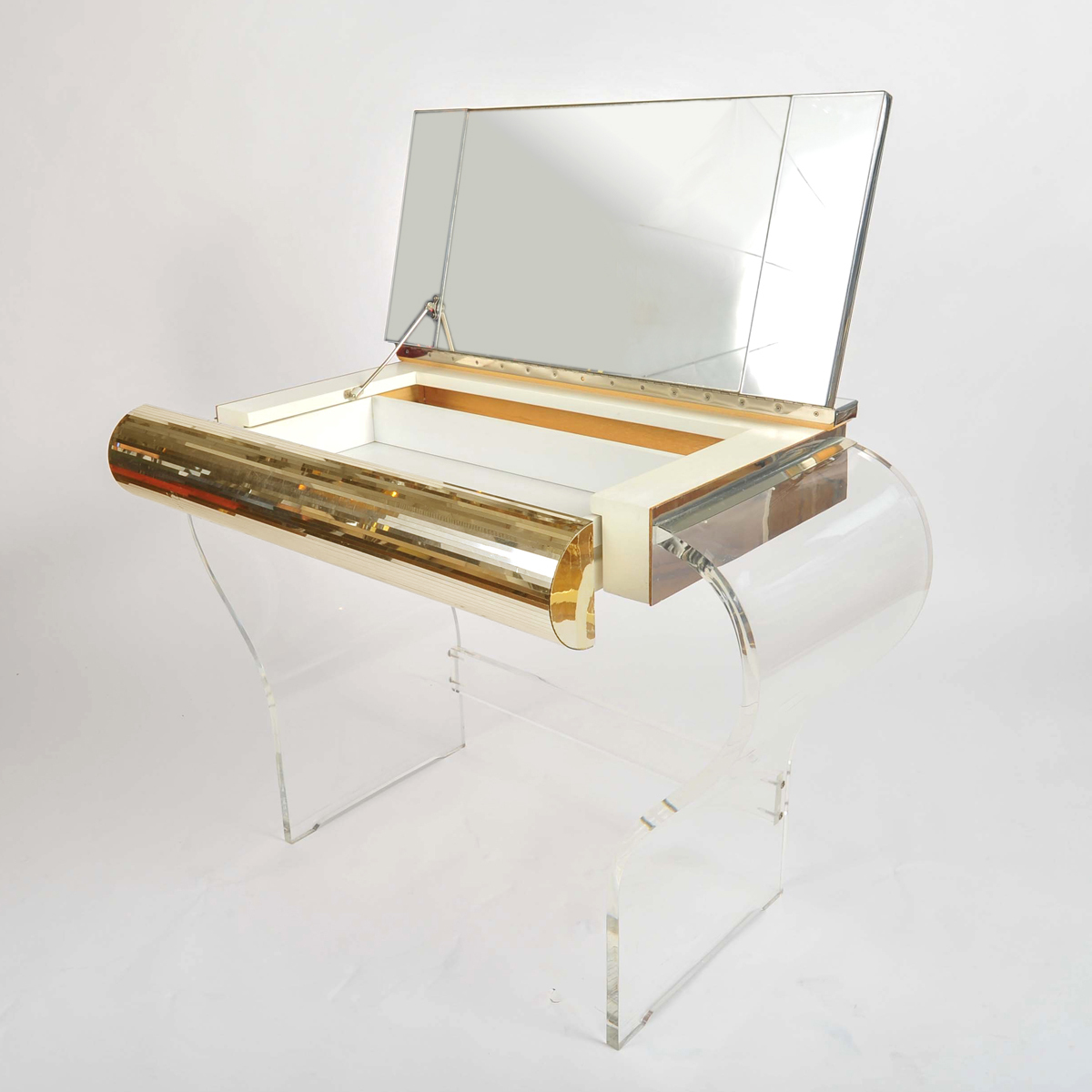 1950S American Lucite Dressing Table Gold Front 05
