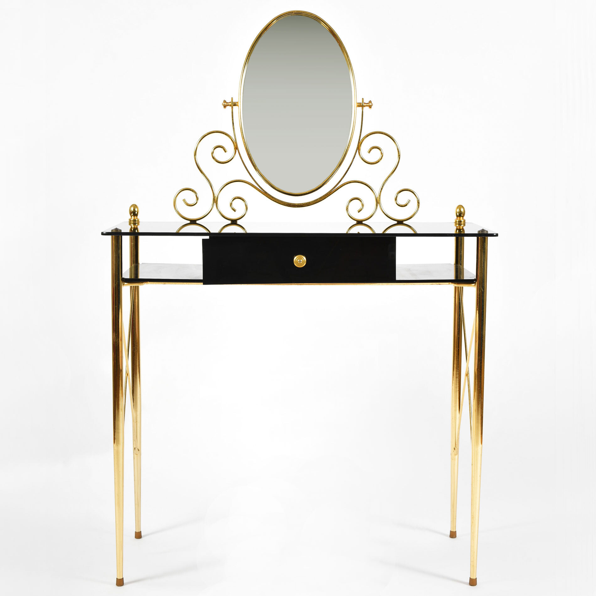Black Glass And Brass Dressing Table 02