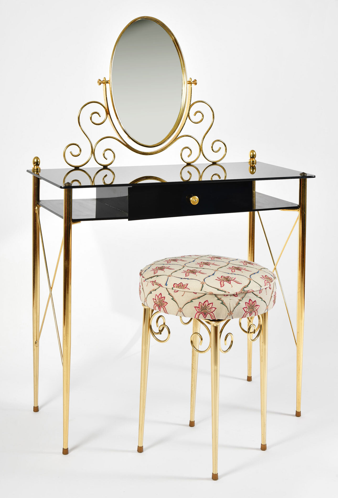 Black Glass And Brass Dressing Table 03