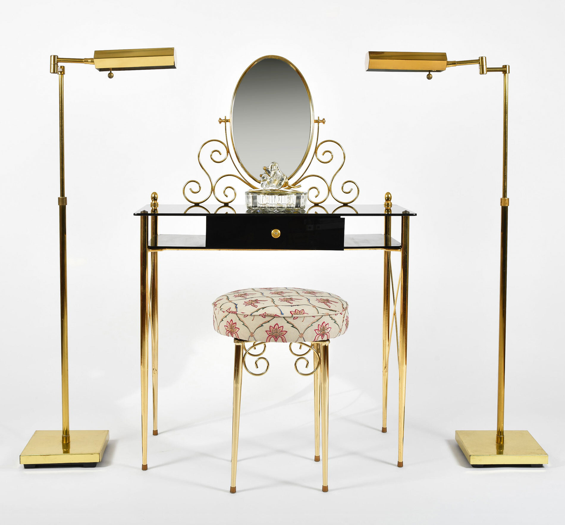 Black Glass And Brass Dressing Table 04
