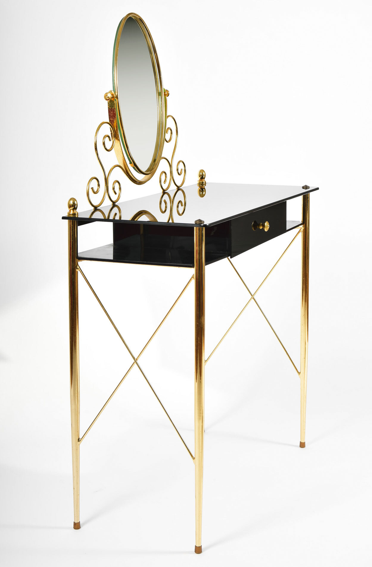 Black Glass And Brass Dressing Table 05