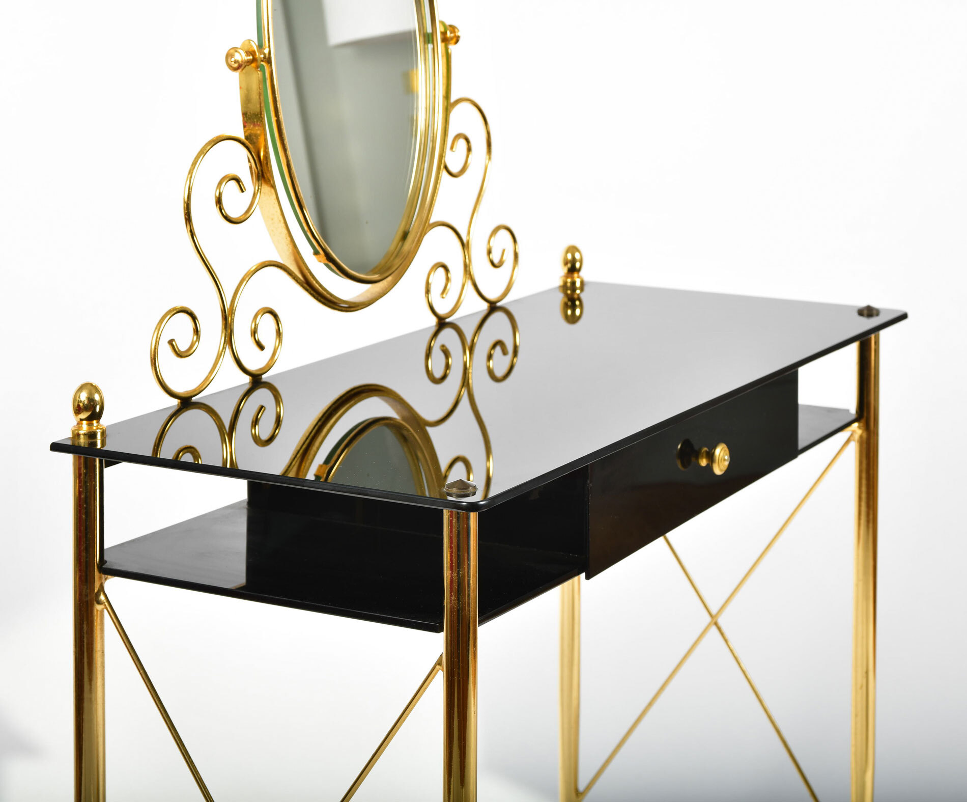 Black Glass And Brass Dressing Table 06