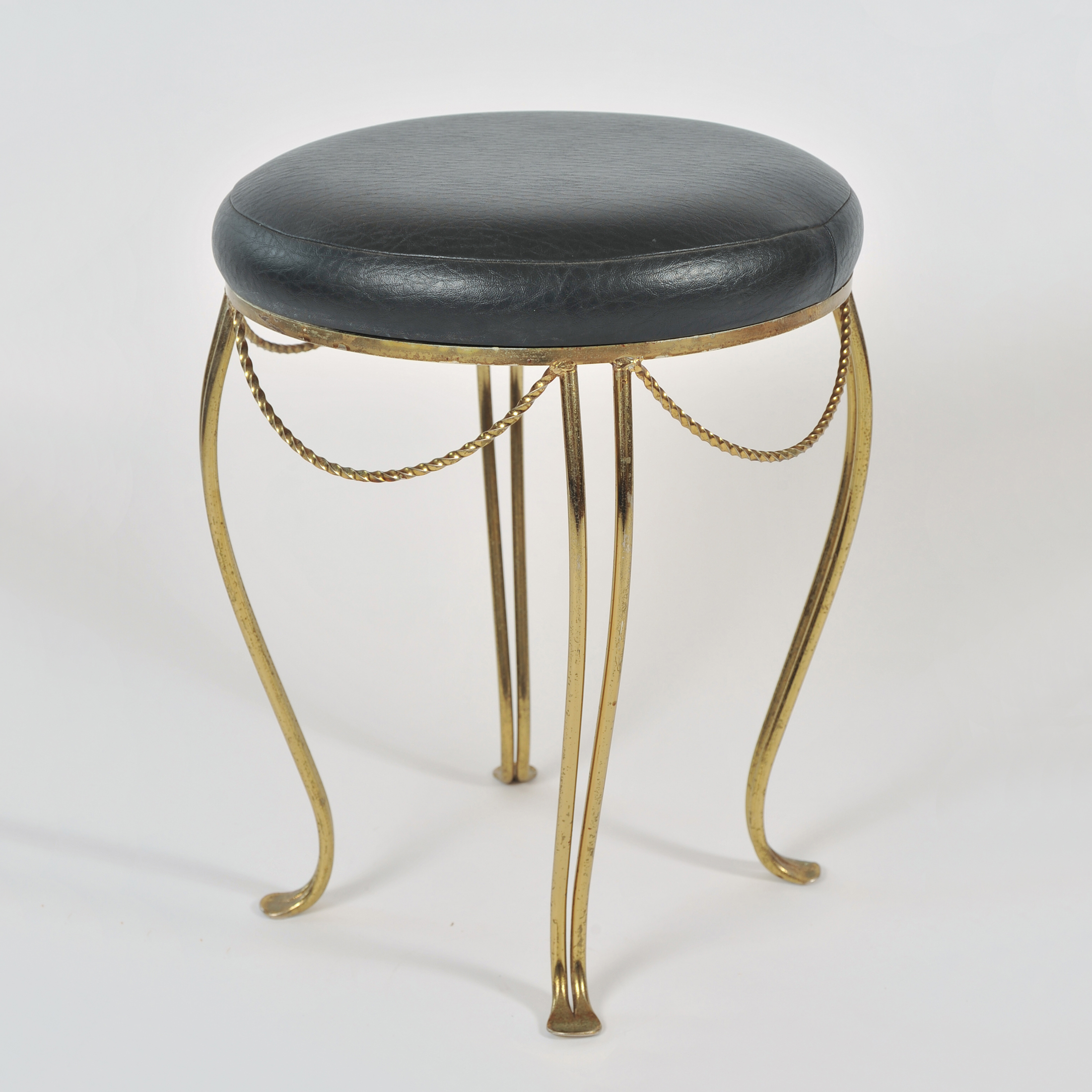 Brass Stool Leather Seat 02