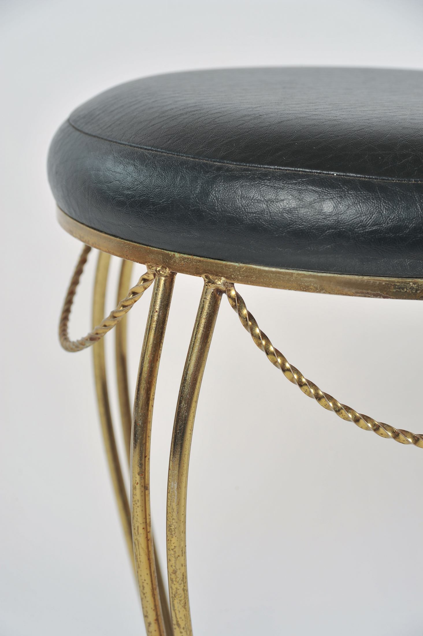 Brass Stool Leather Seat 04