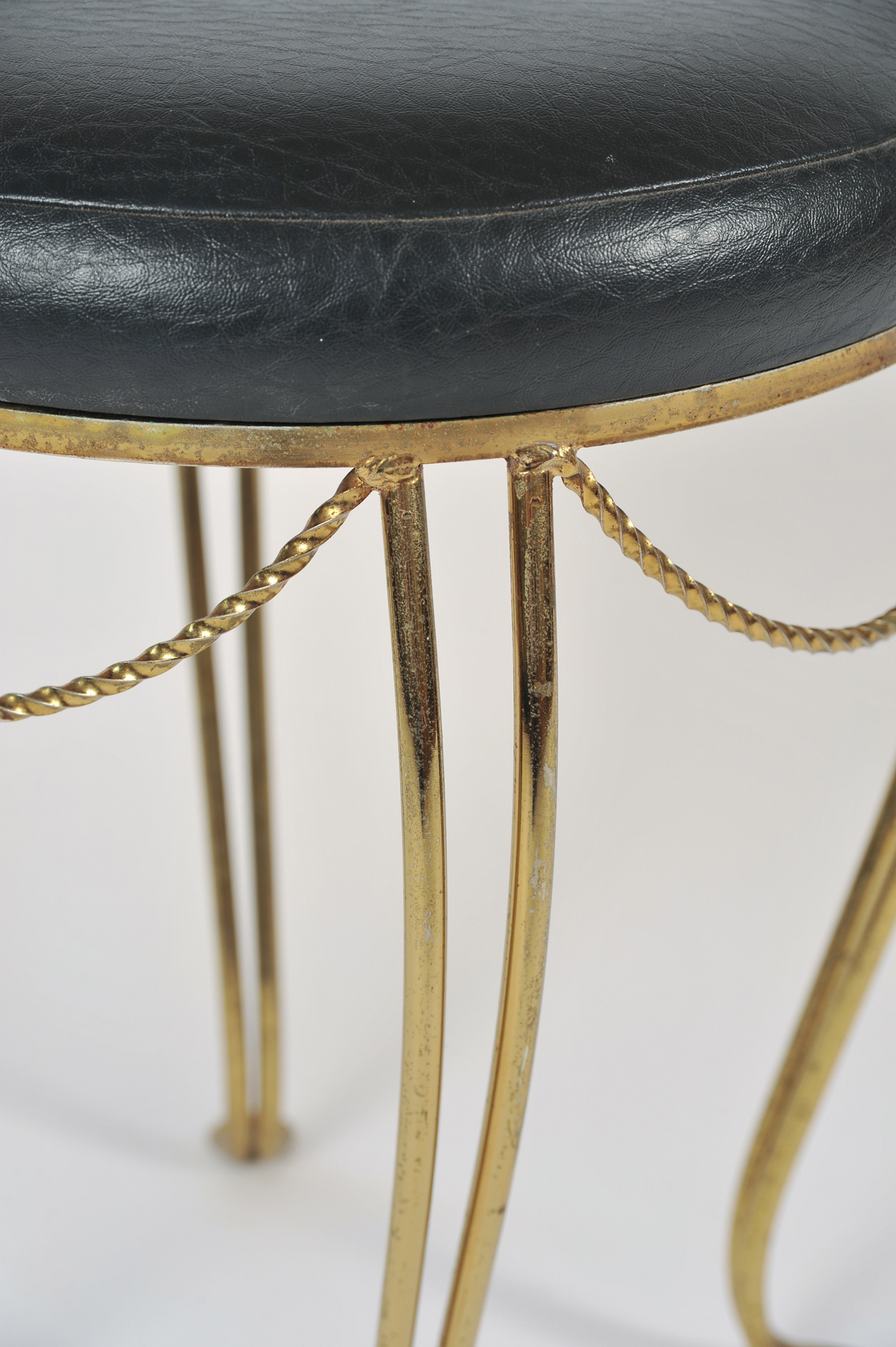Brass Stool Leather Seat 05