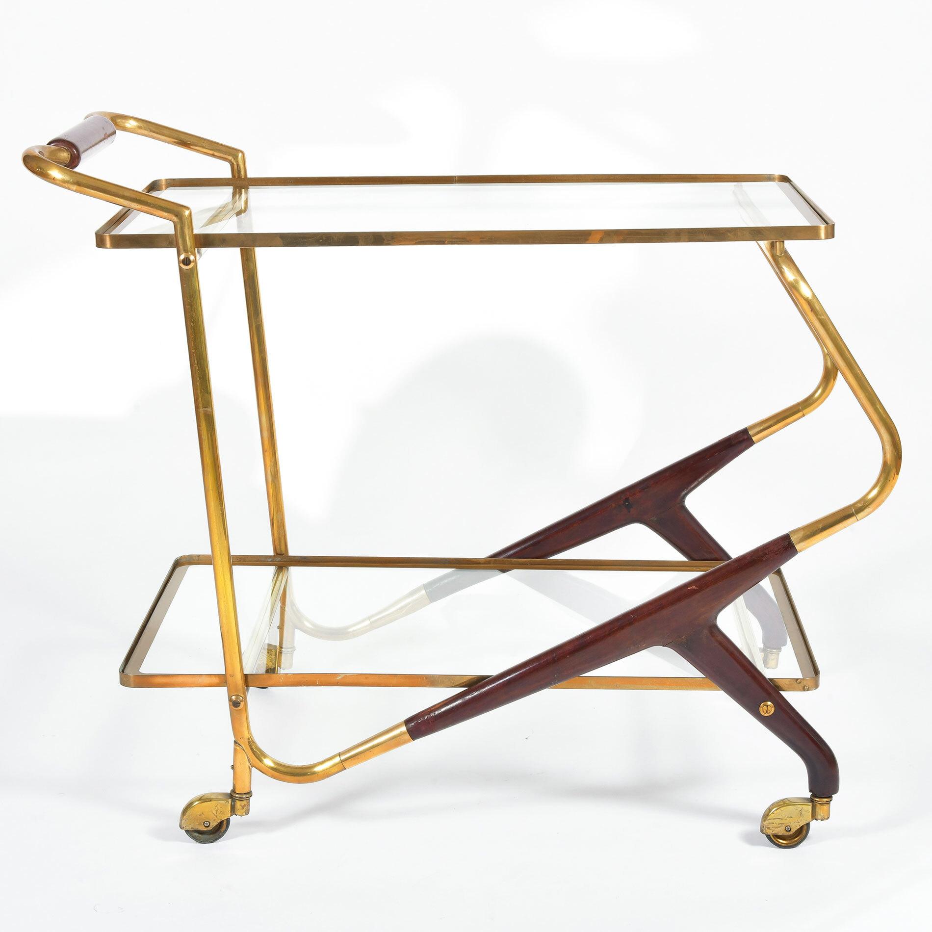Brass And Mahogany Trolley 01