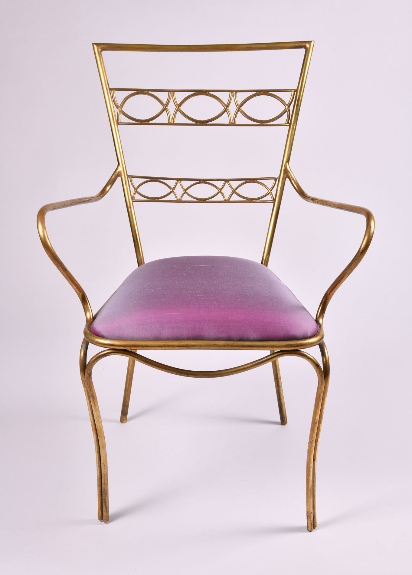 Brass Chair Purple Upholstered Seat 02