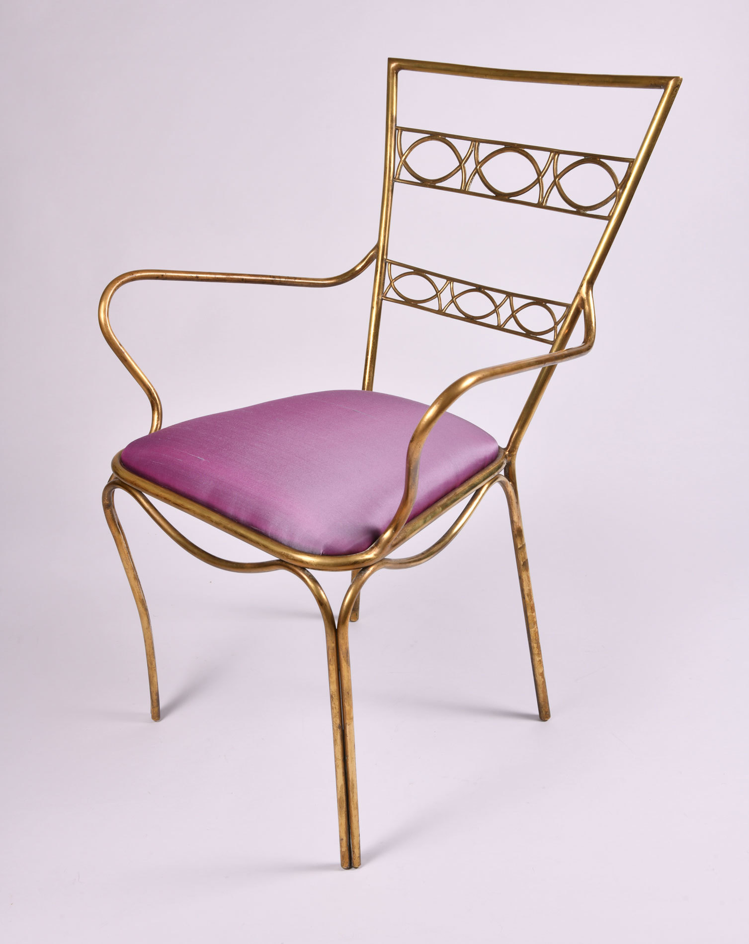 Brass Chair Purple Upholstered Seat 03