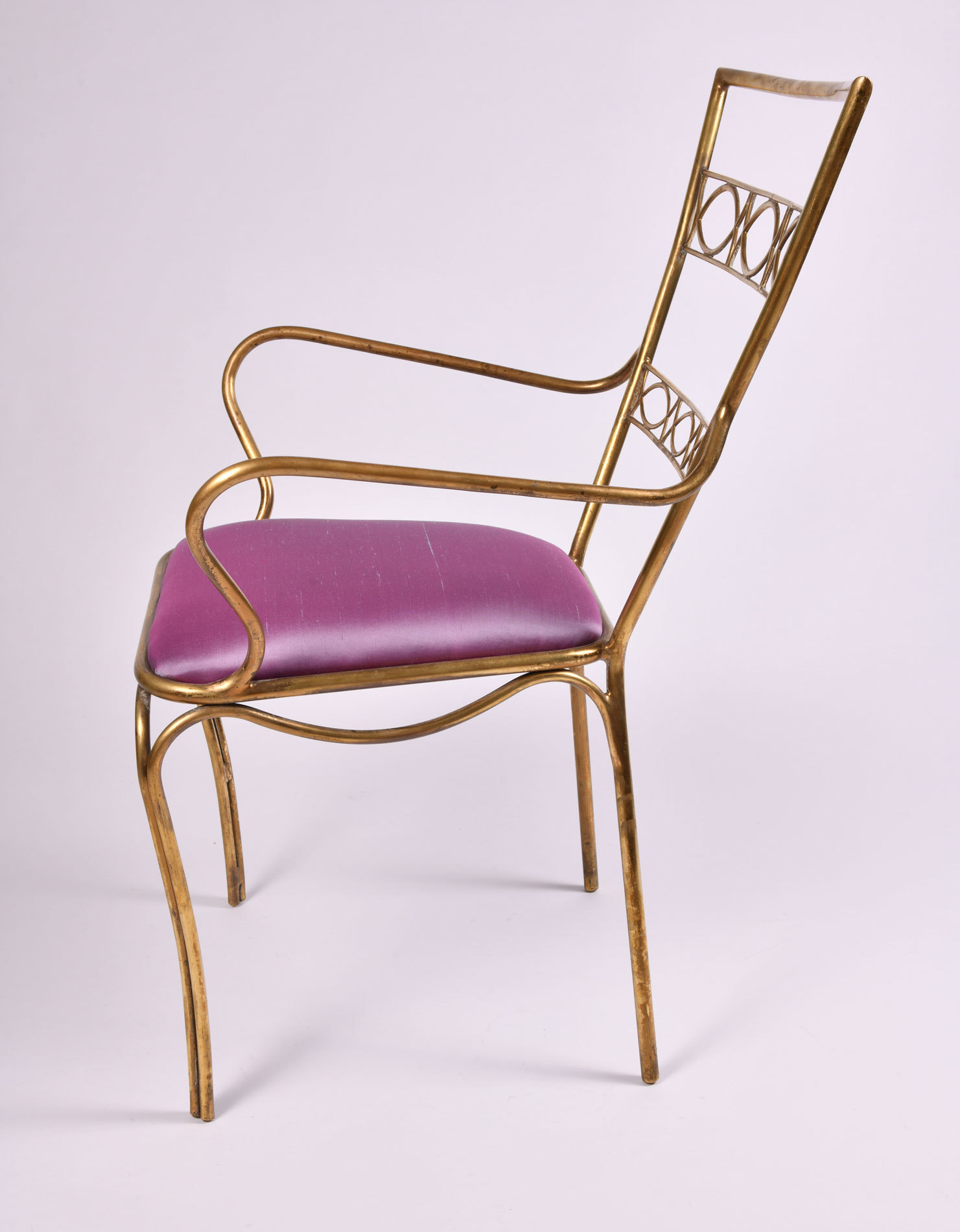 Brass Chair Purple Upholstered Seat 04