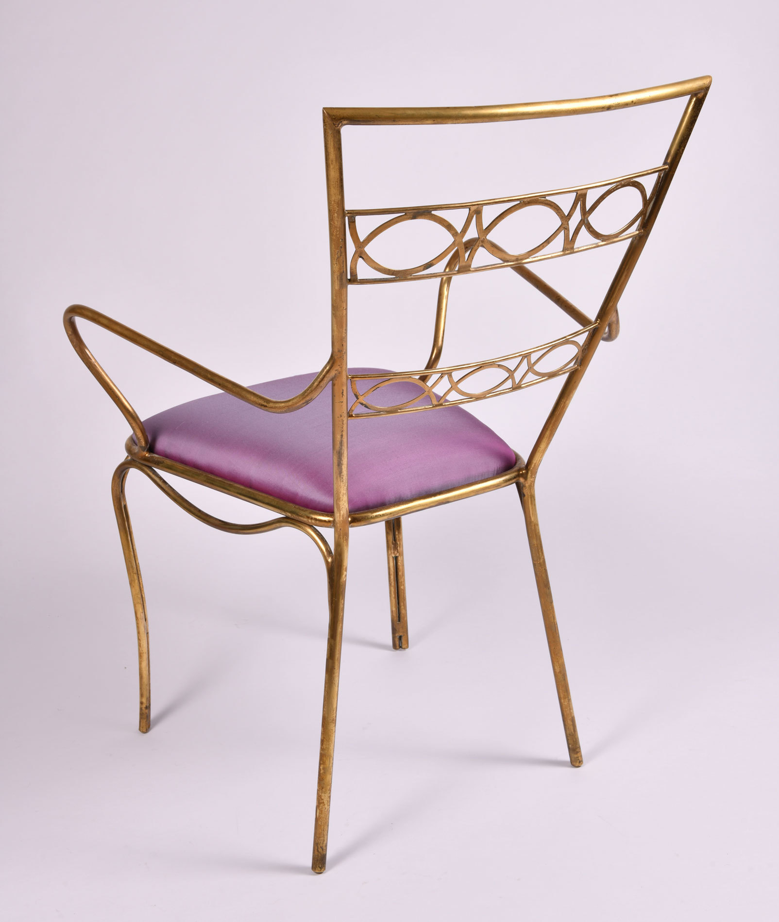 Brass Chair Purple Upholstered Seat 05