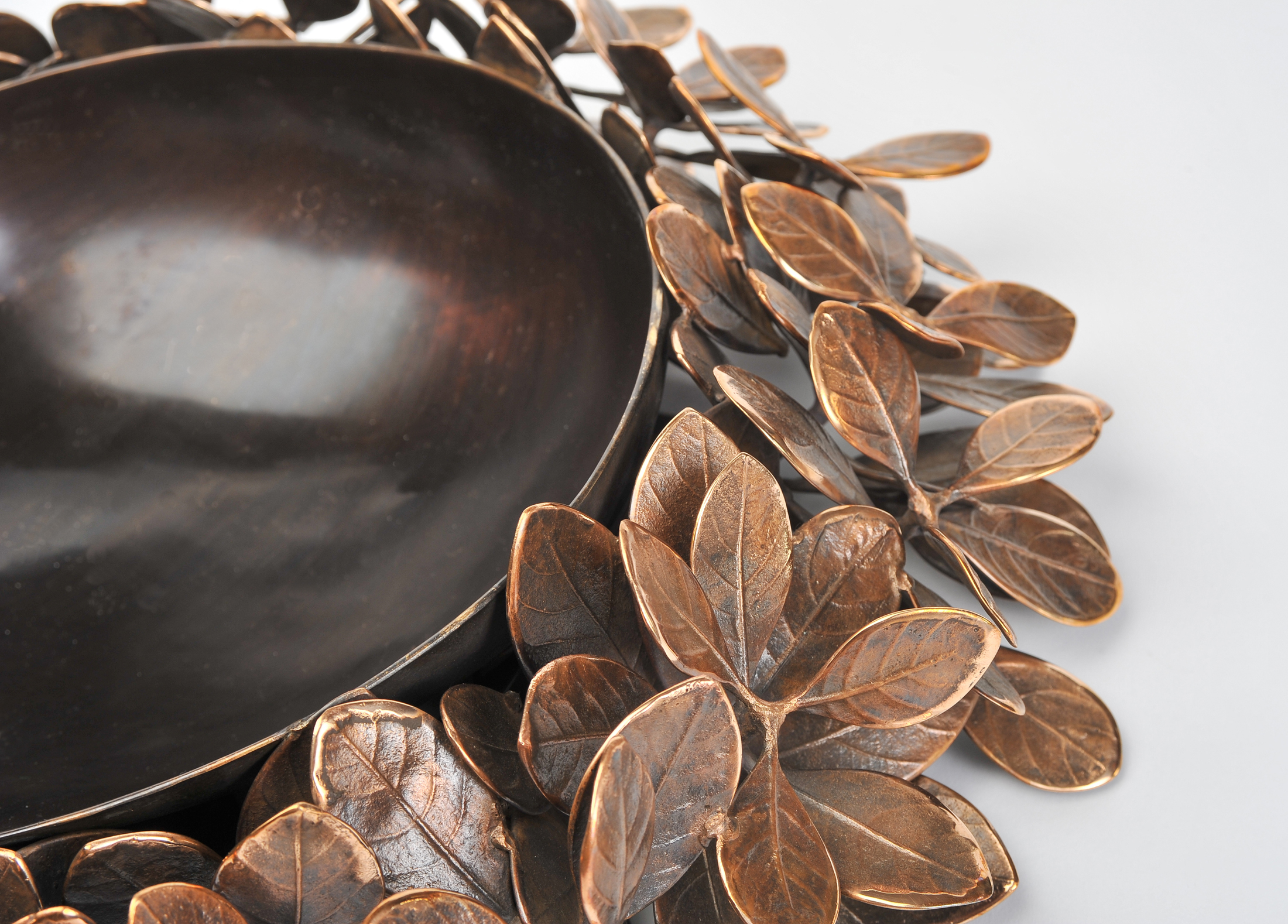 Cast Bronze Leaf Bowl 02