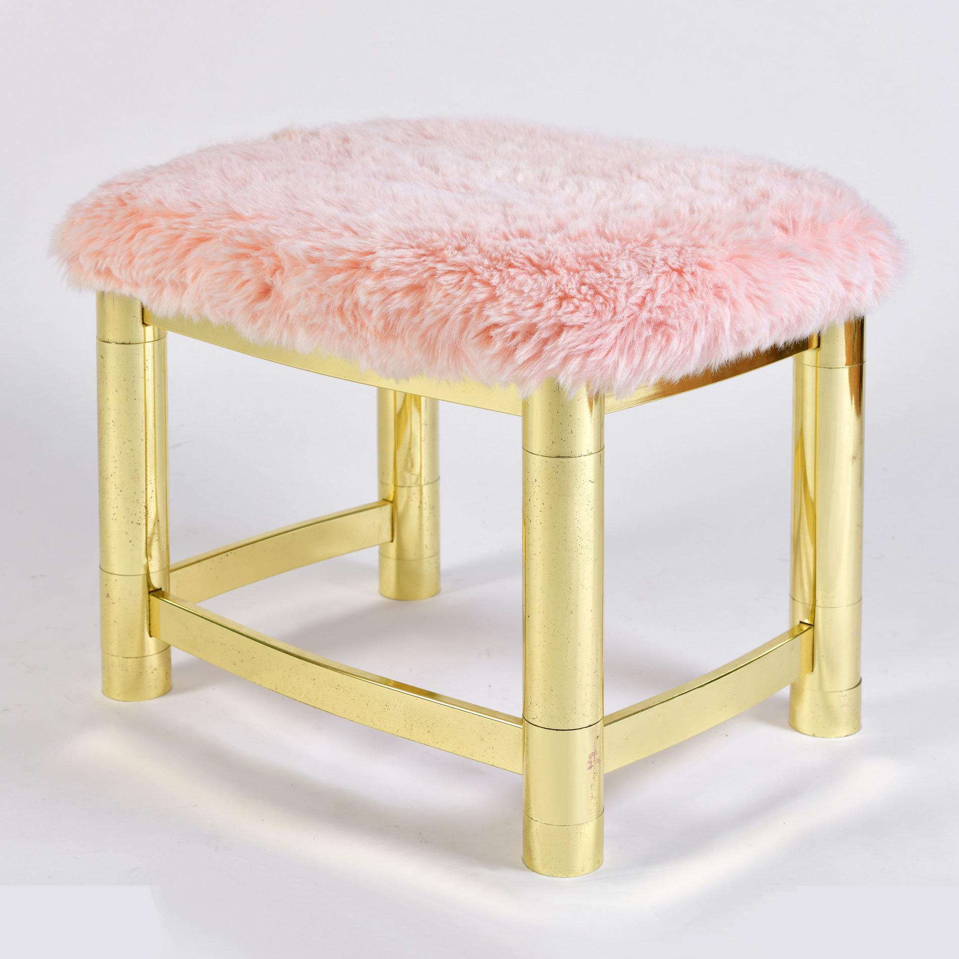 Fluffy Pink Brass Stool 01