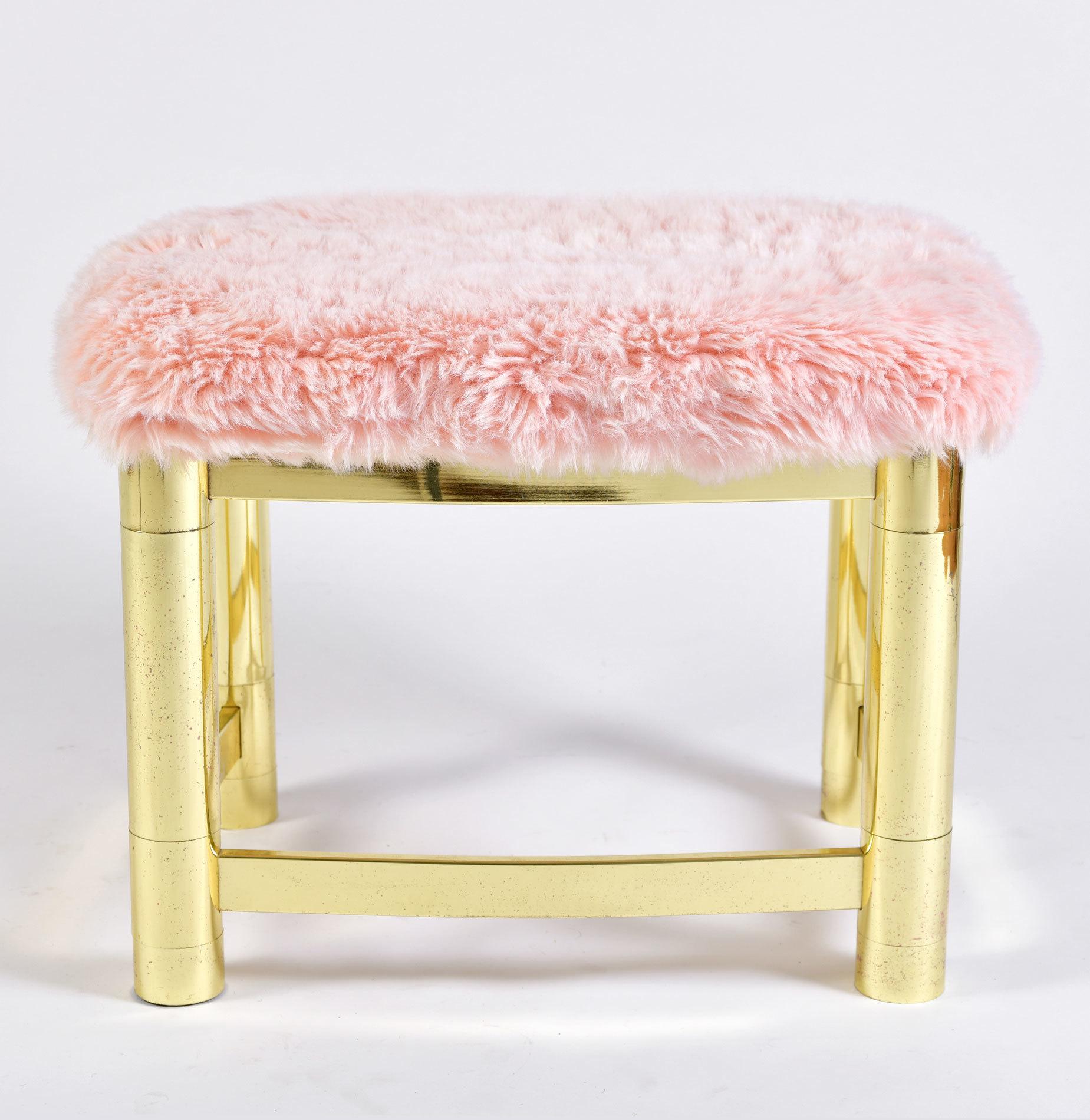 Fluffy Pink Brass Stool 02