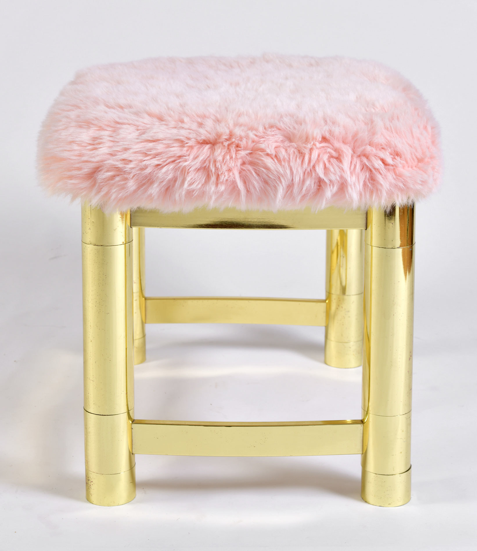 Fluffy Pink Brass Stool 03