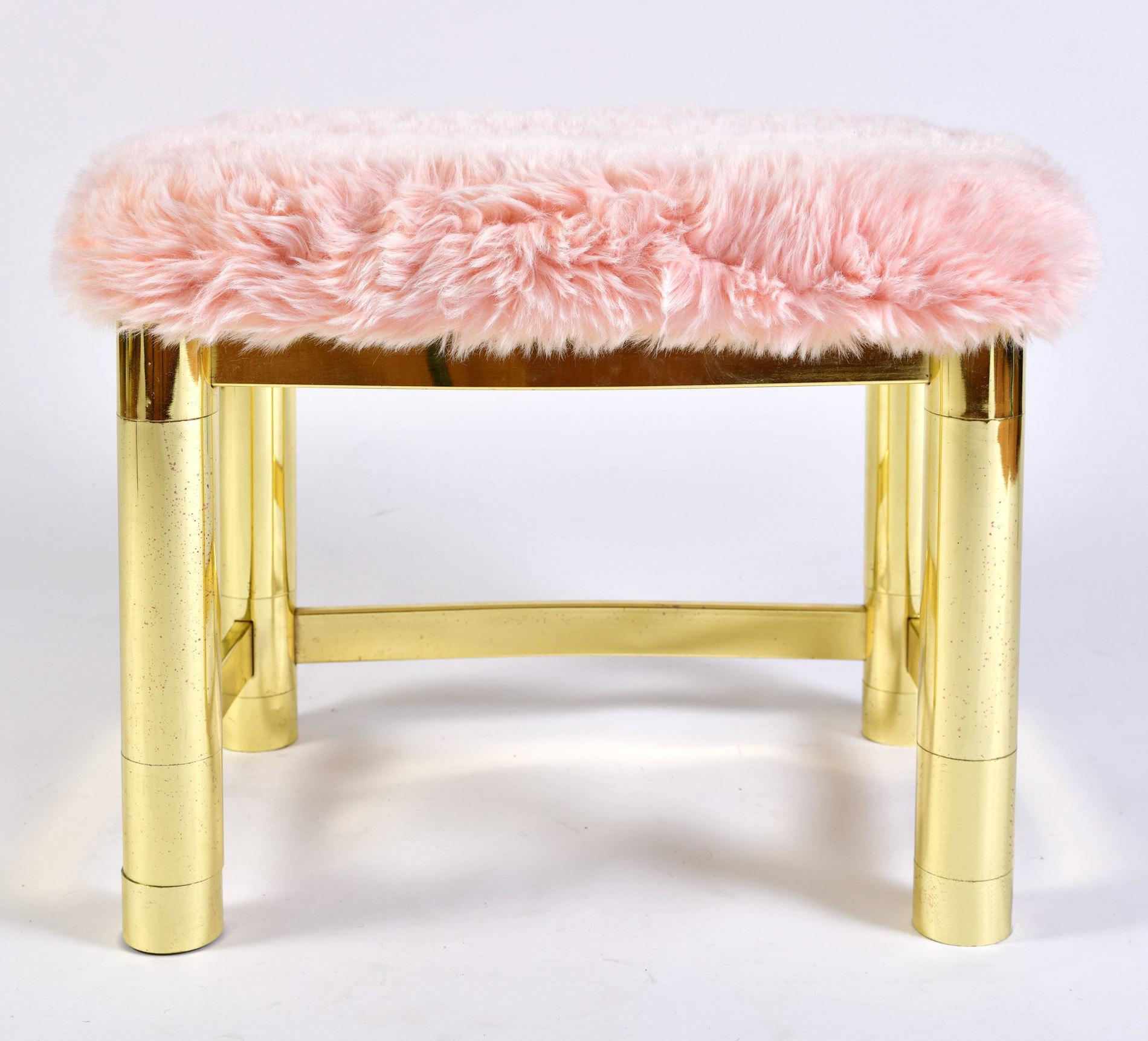 Fluffy Pink Brass Stool 04