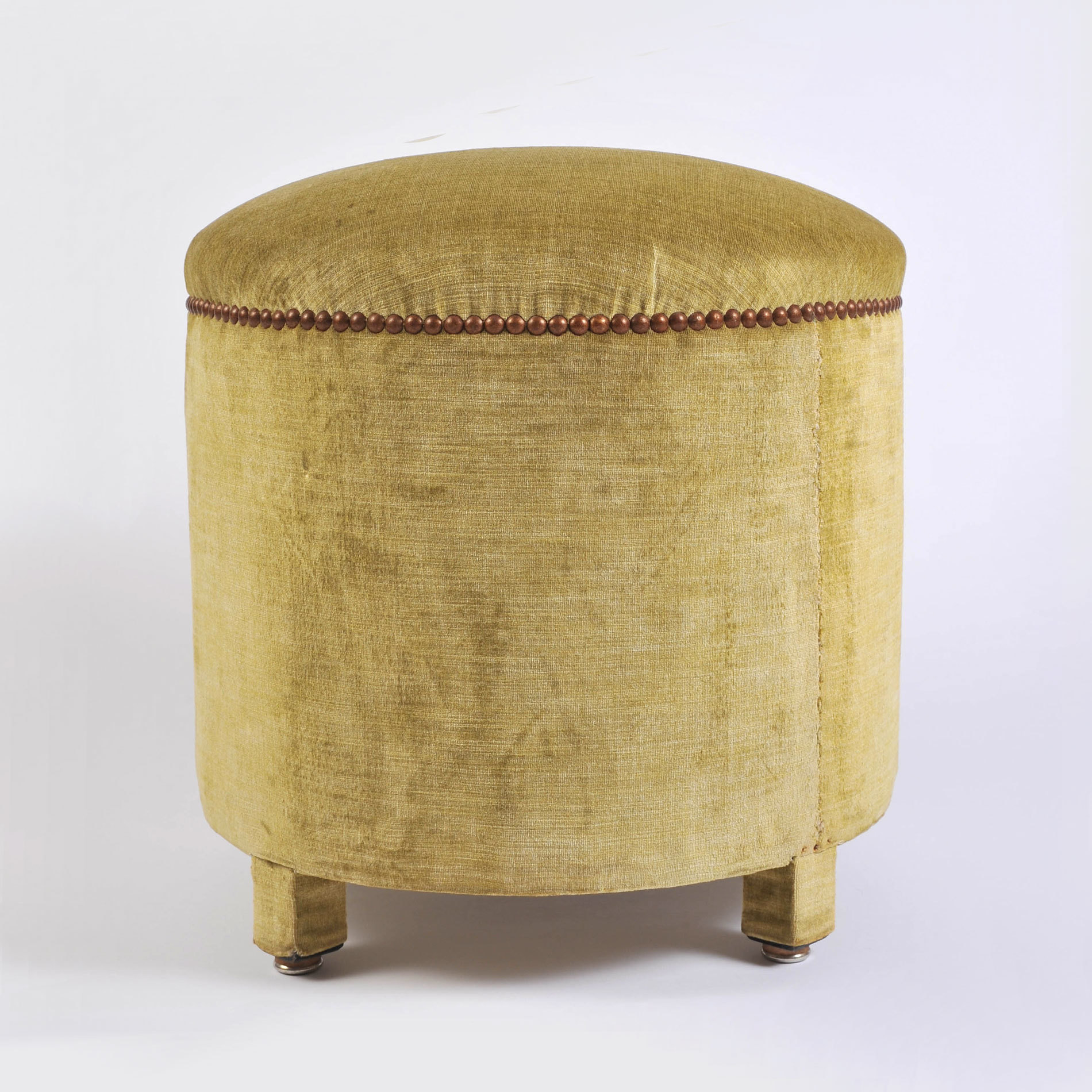 Green Yellow Upholstered Stool 01