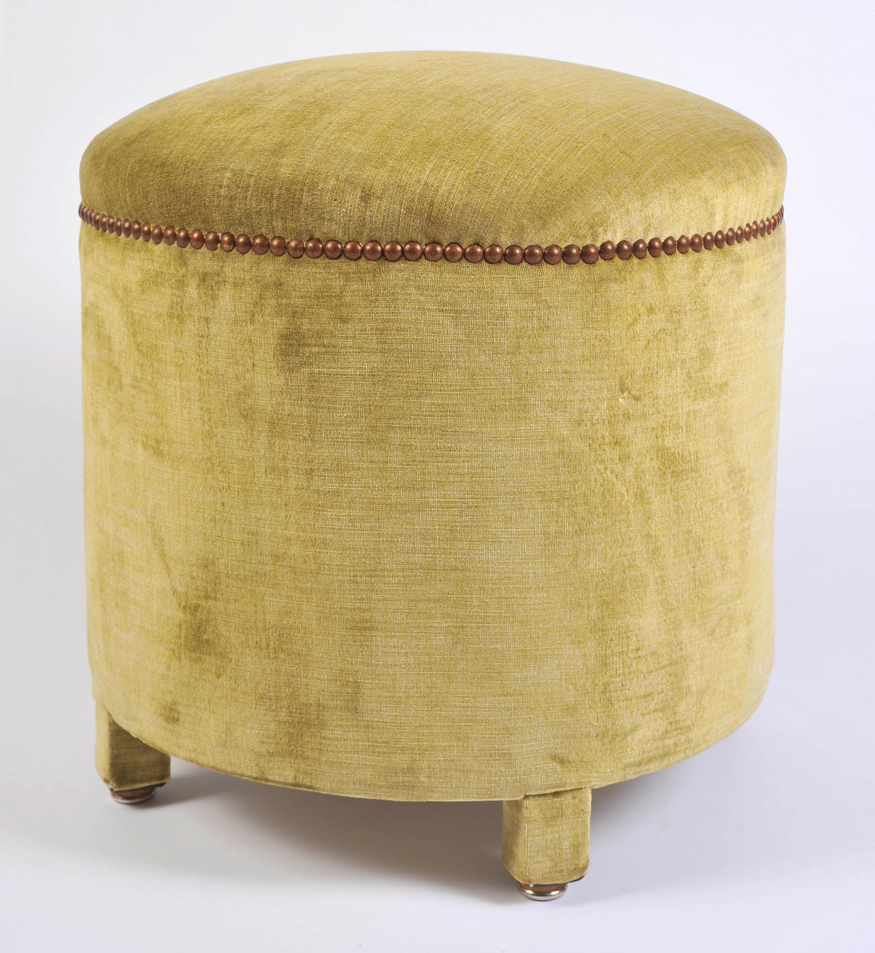 Green Yellow Upholstered Stool 02