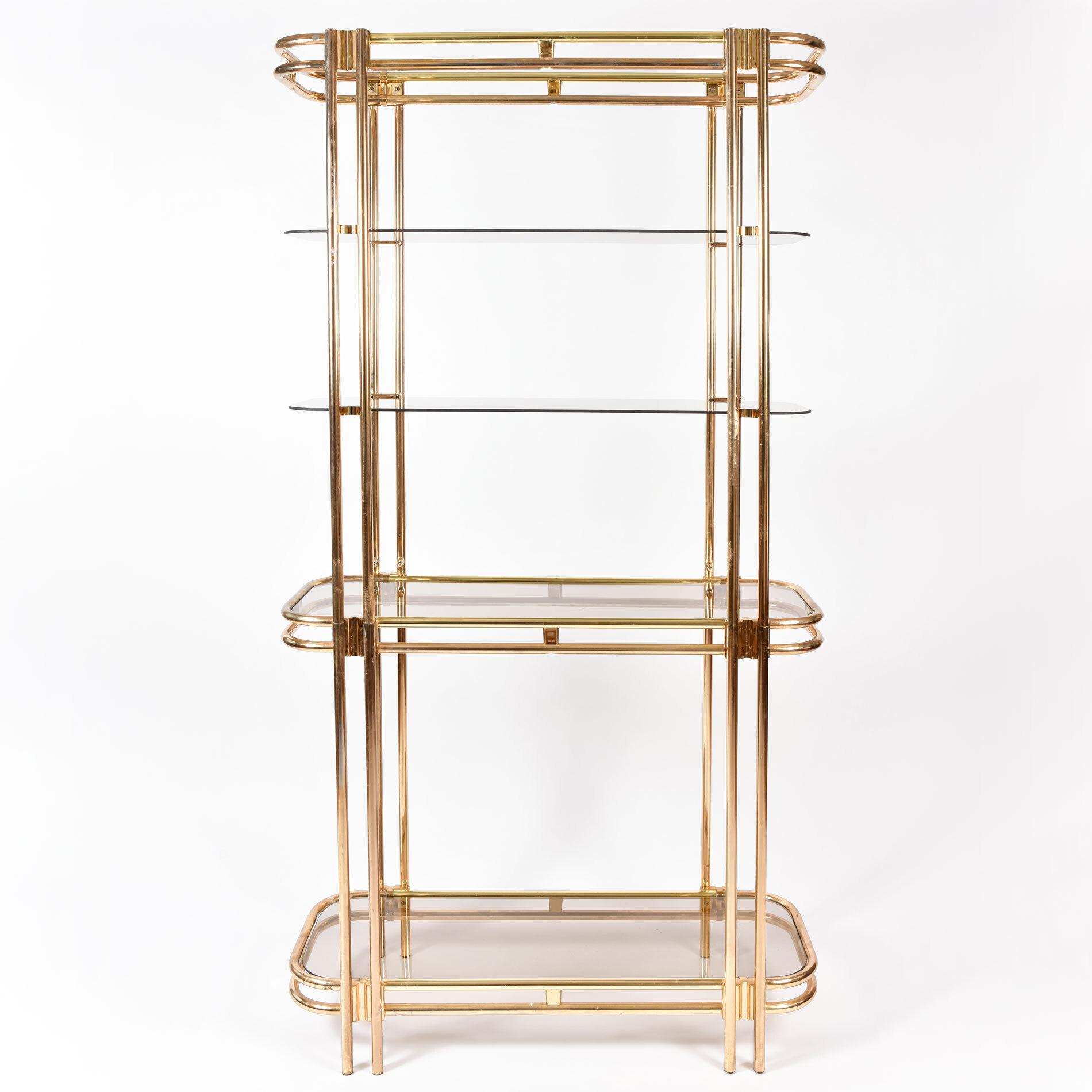 Hollywood Regency Brass Shelves 01