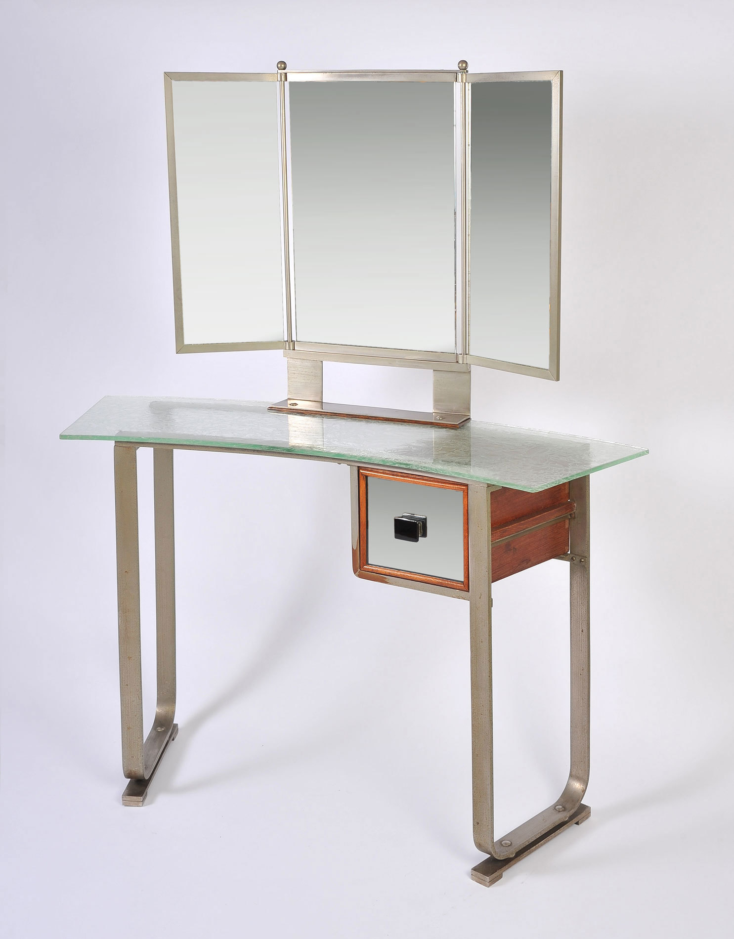 Italian Glass Chrome Dressing Table 03Ajpg