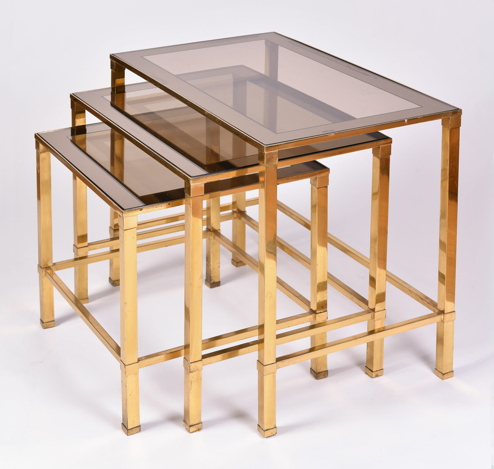 Italian Nest Brass Side Tables 02