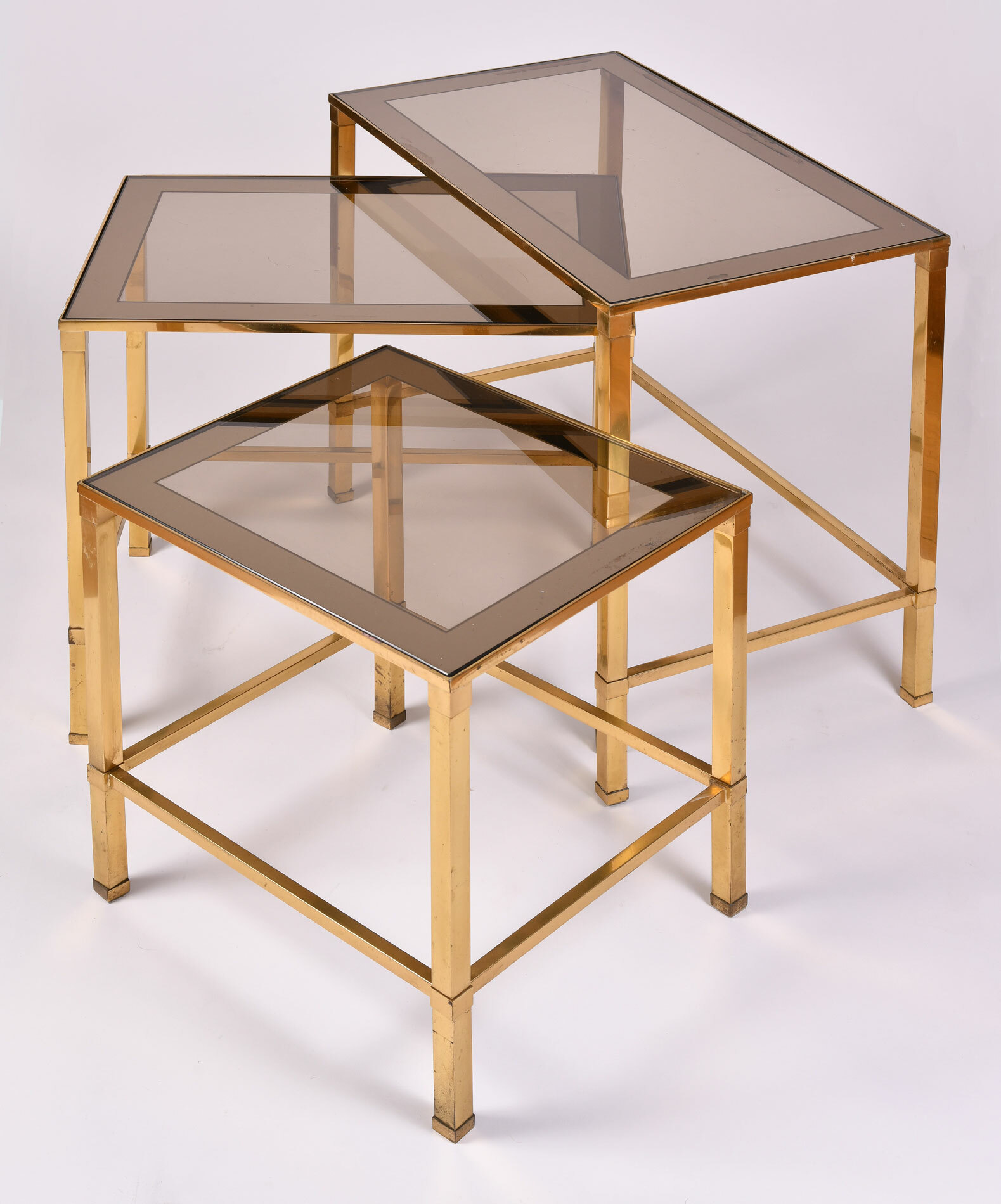 Italian Nest Brass Side Tables 03