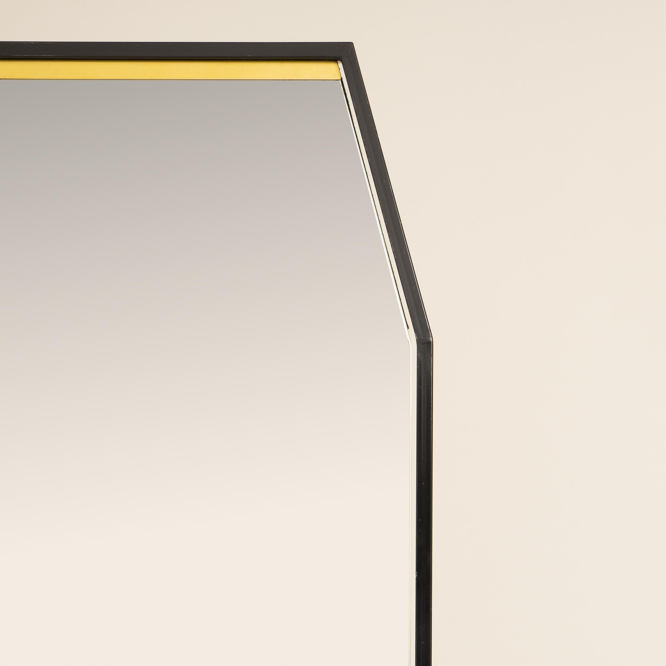 Italian Black Octagonal Floor Mirror 0312