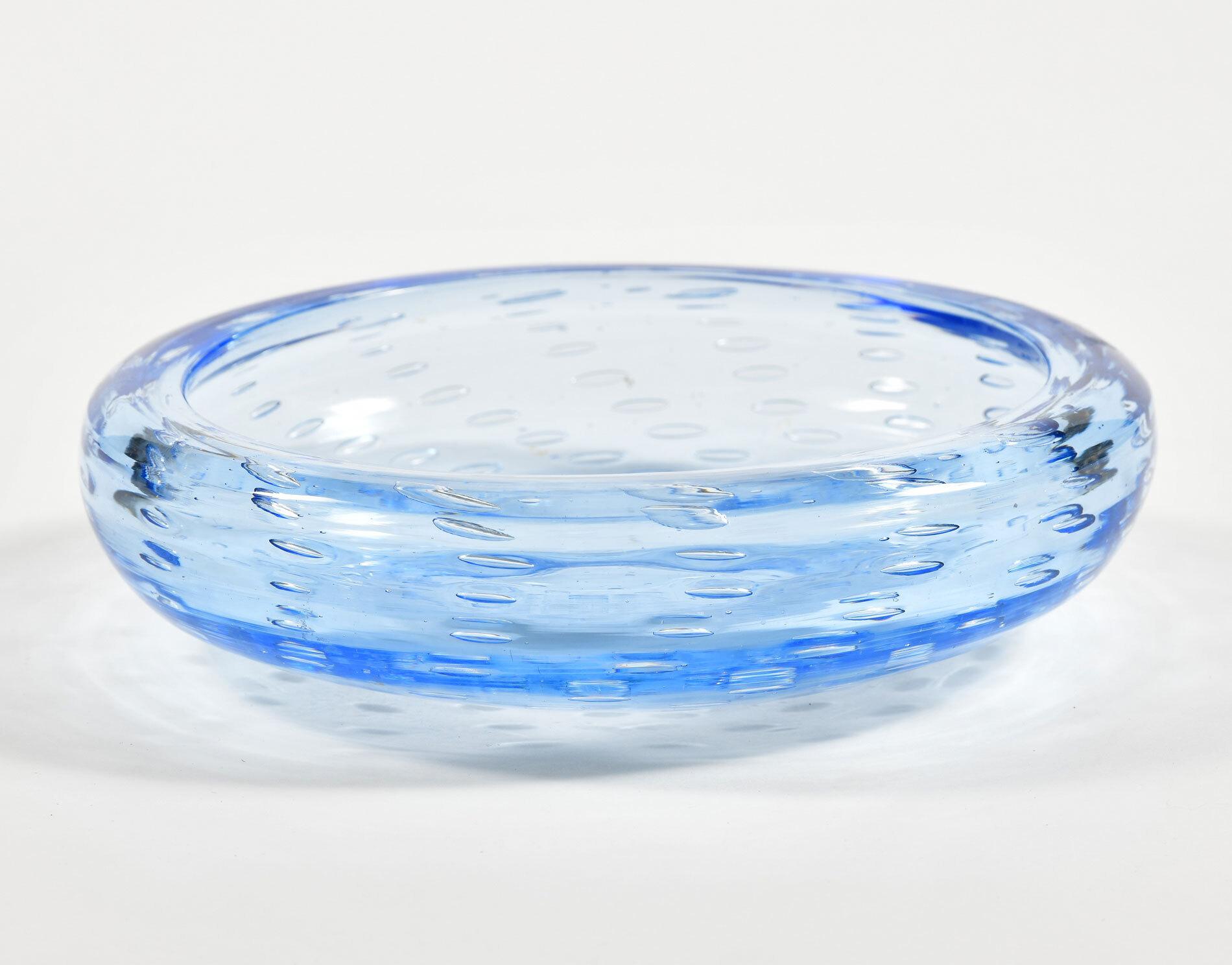 Mid Centruy Blue Murano Bowl 02