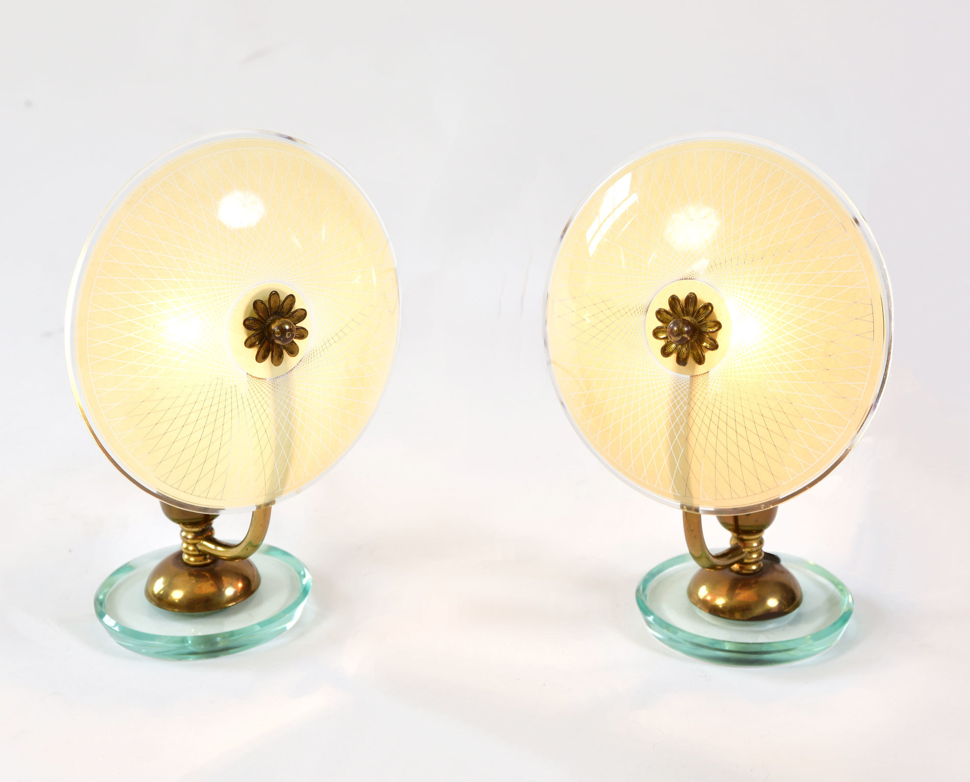 Pair 1940S Flower Lamps 02