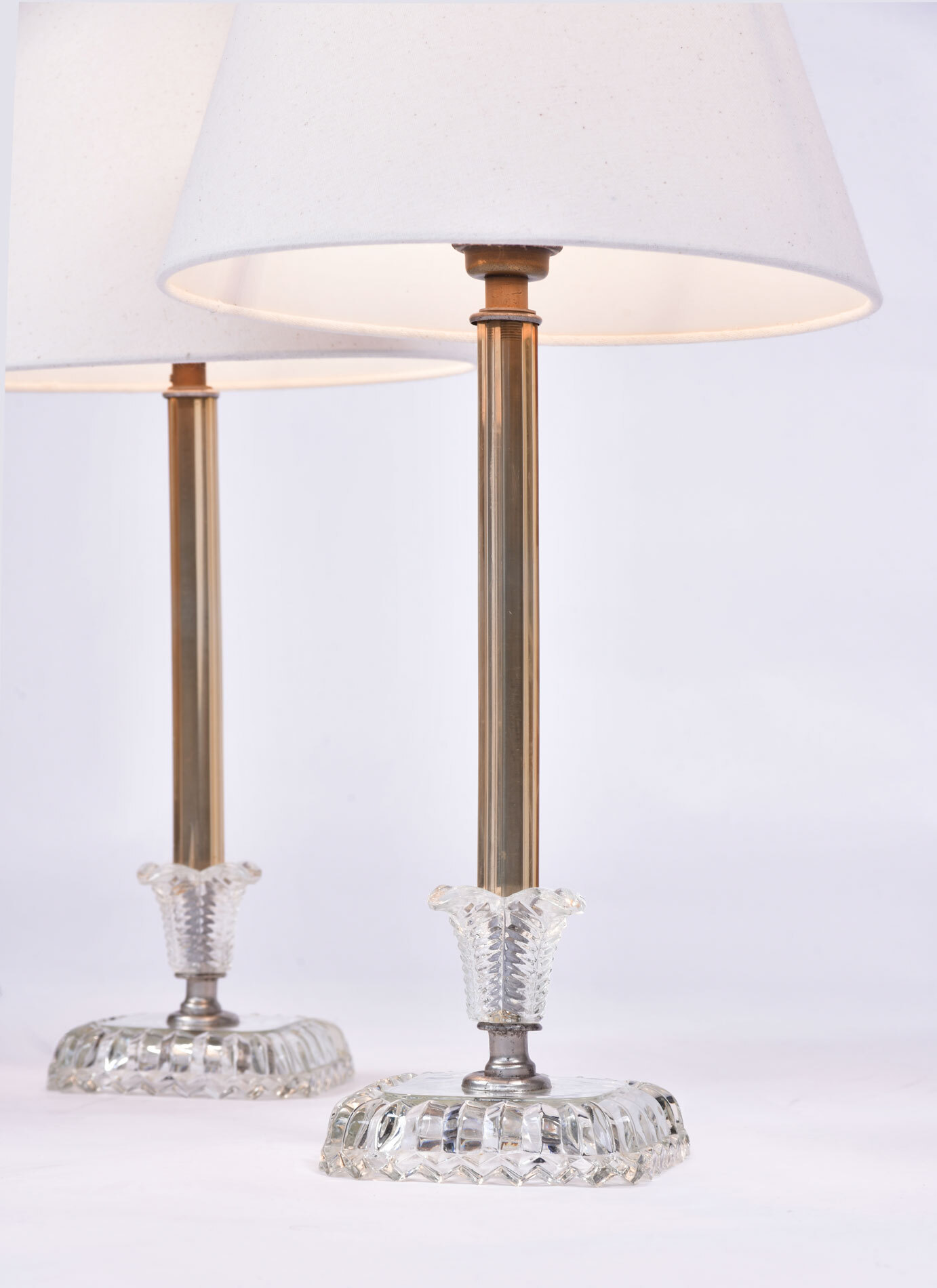 Pair 1950S Us Glass Lamps 02