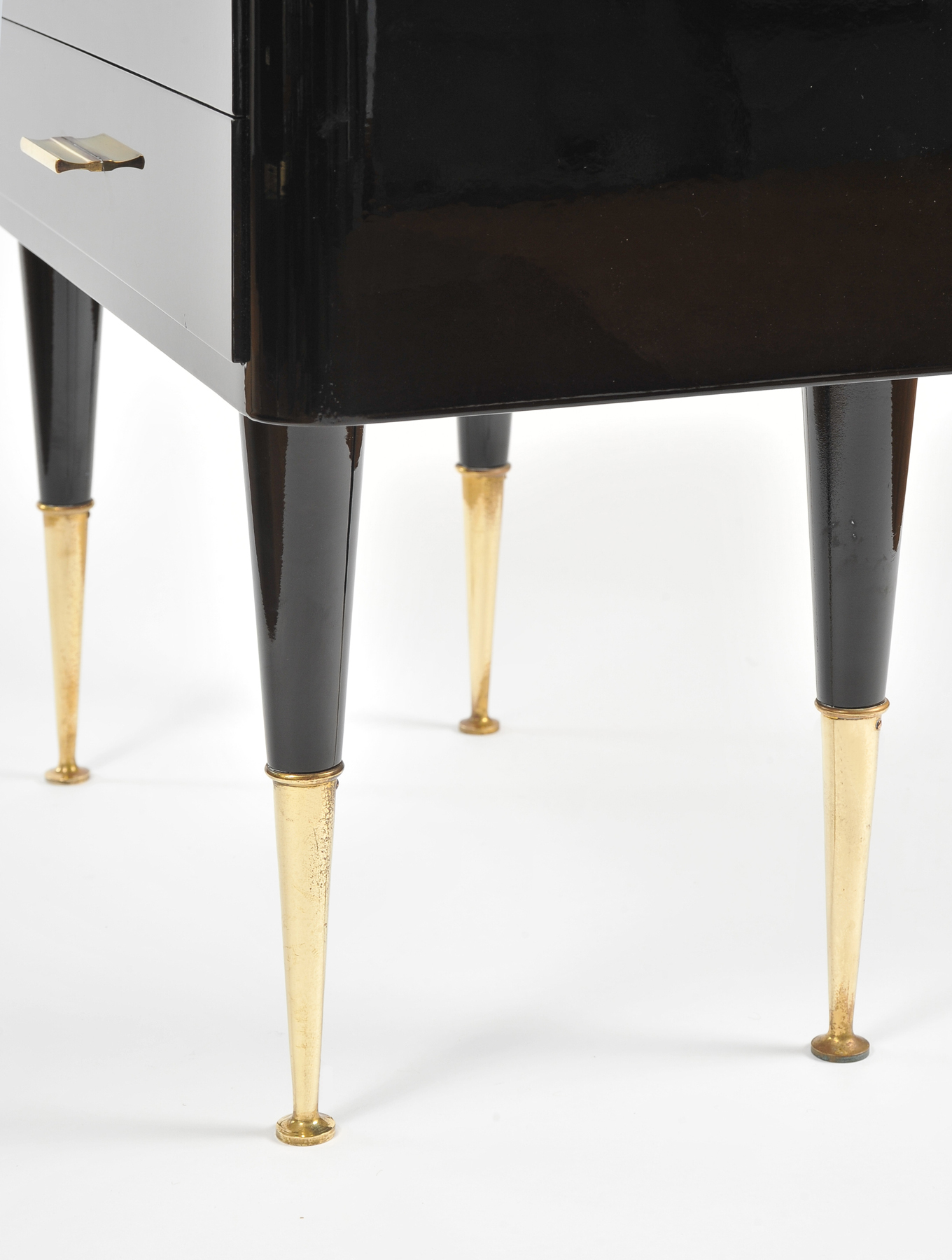 Italian 1950s Black Lacquered Bedside Tables