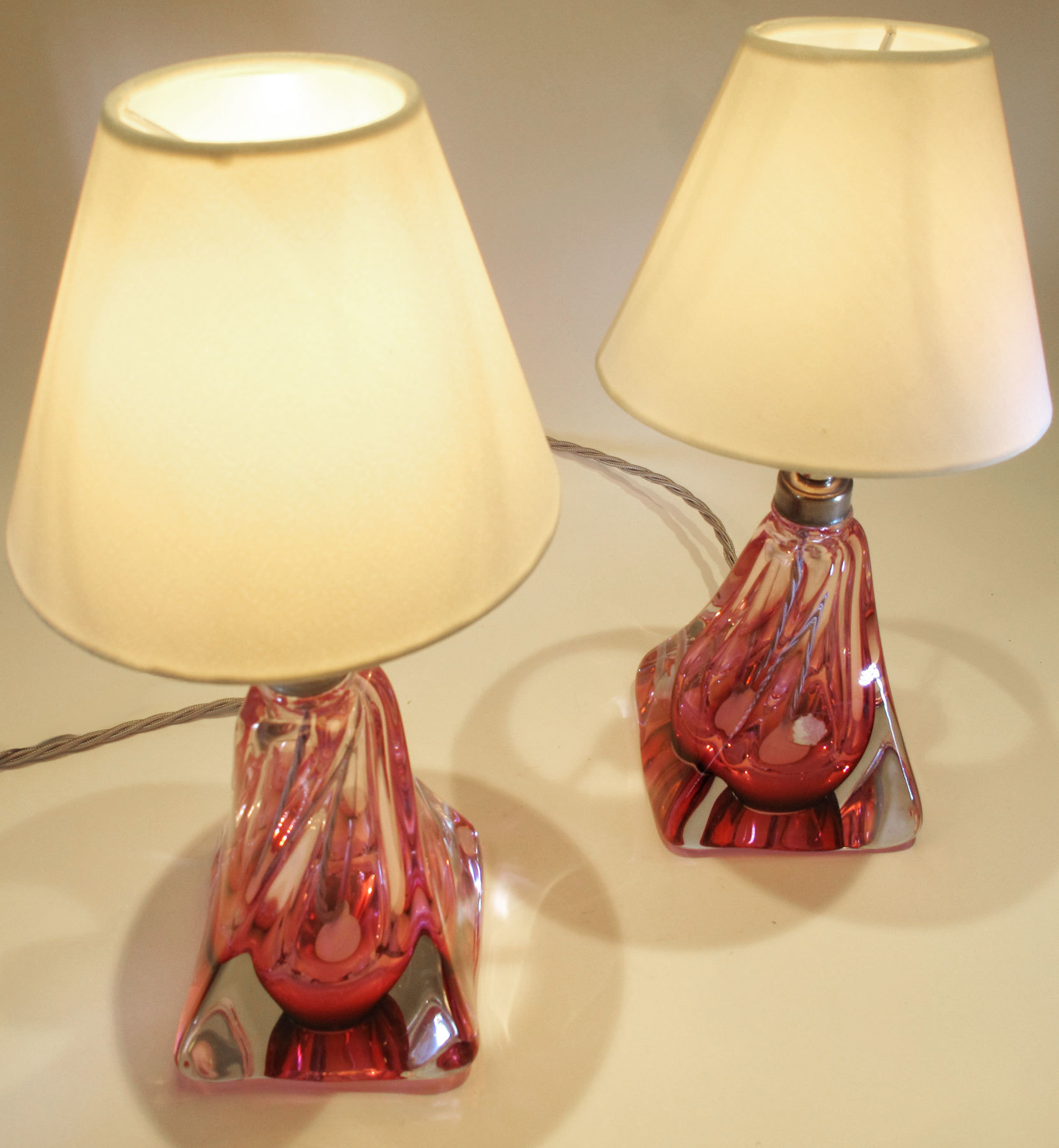 Pair Cranberry Lamps 02