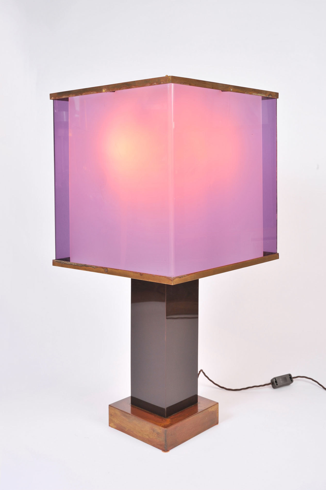 Pair Double Perspex Shade Lamps 02