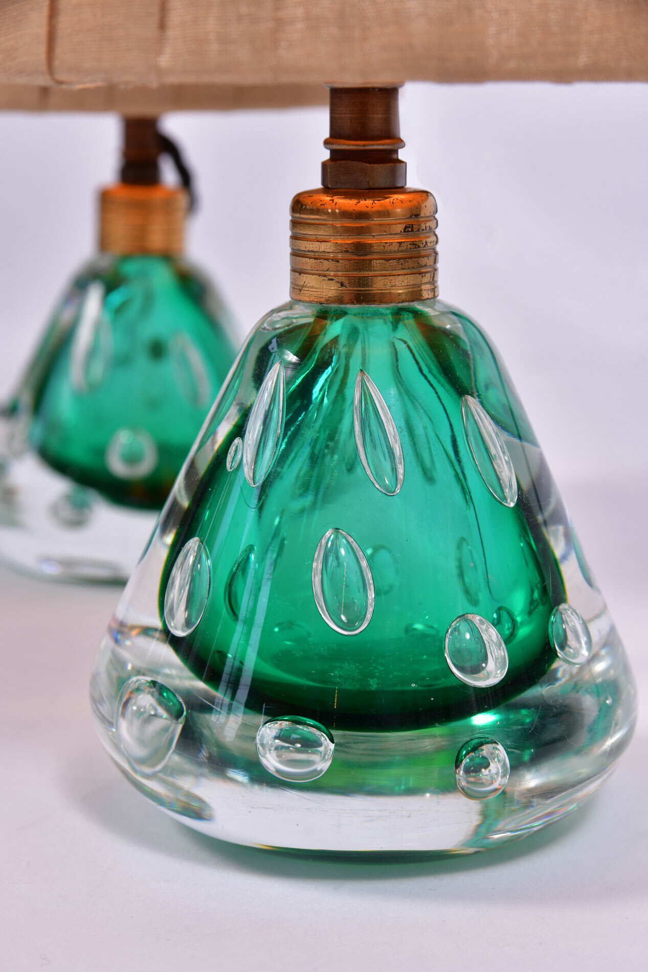 Pair Emerald Green Murano Lamps 03
