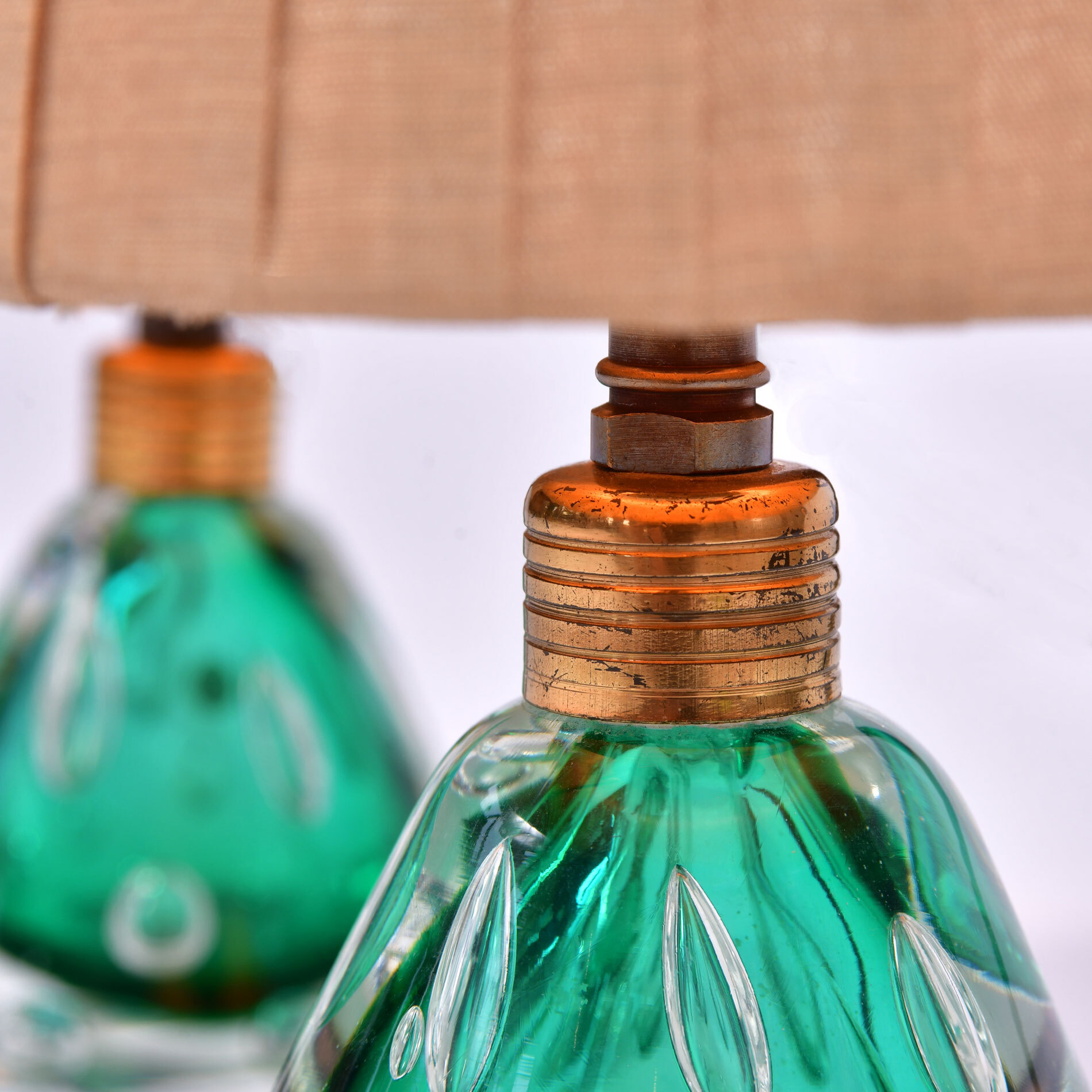 Pair Emerald Green Murano Lamps 04