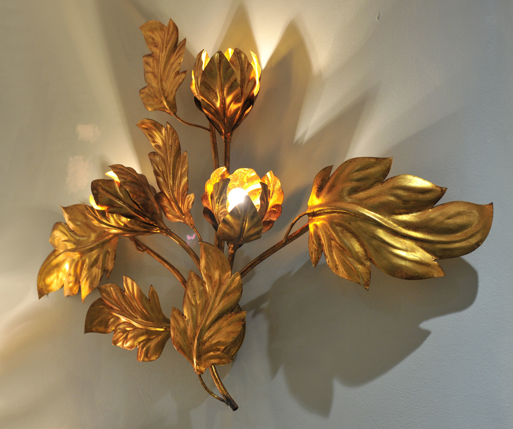 Pair Gilded Peonie Wall Lights 02 Vw