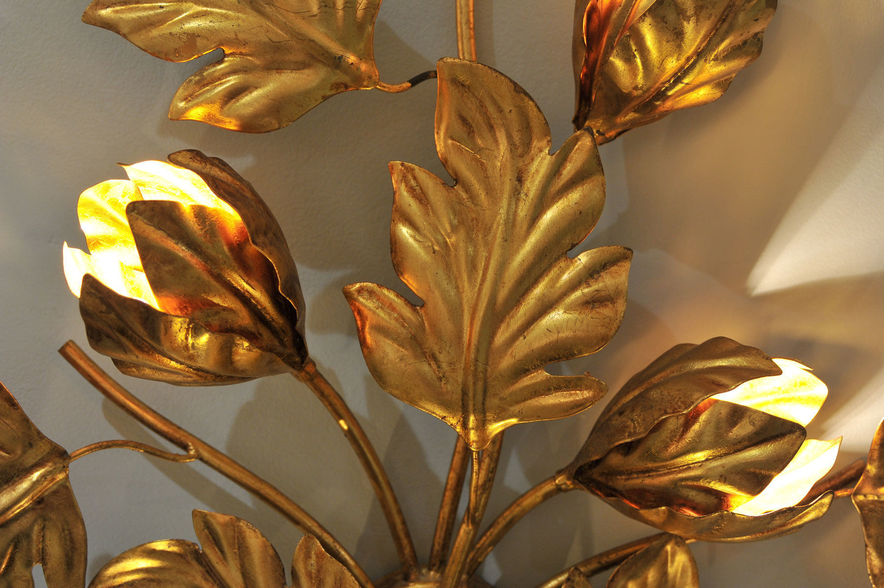 Pair Gilded Peonie Wall Lights 03 Vw