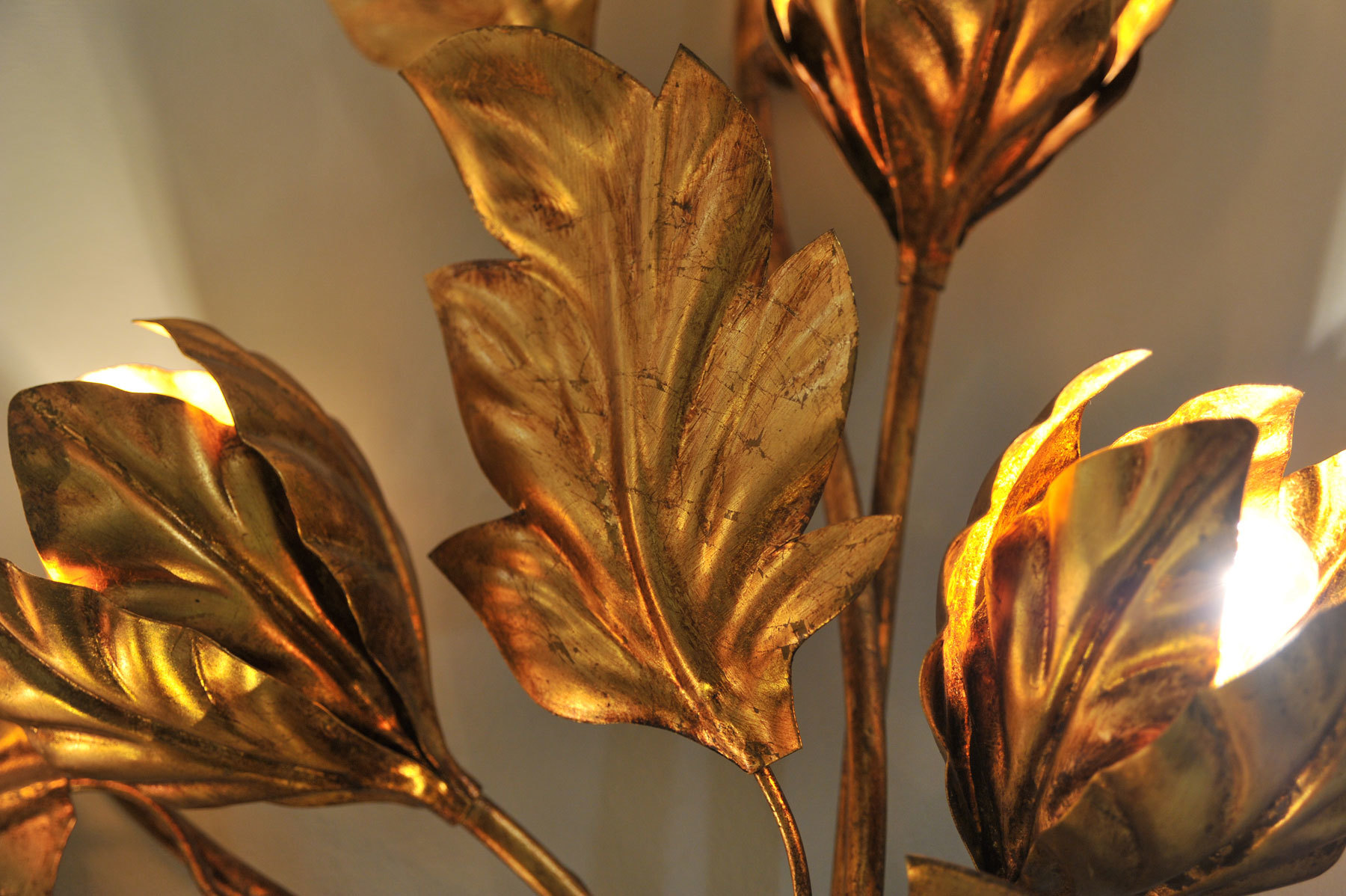 Pair Gilded Peonie Wall Lights 05 Vw