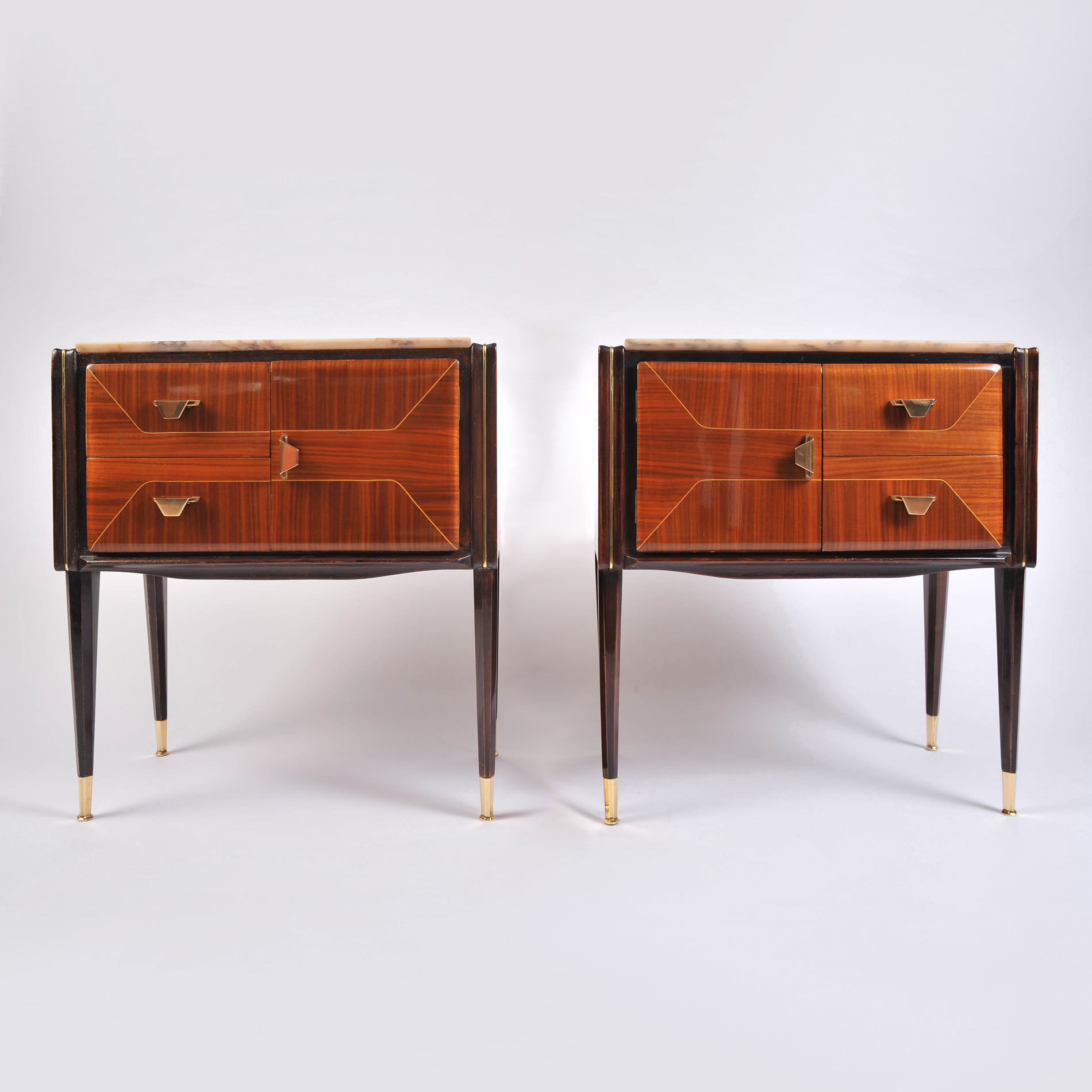 Pair Italian Bedsides Marble Tops 01