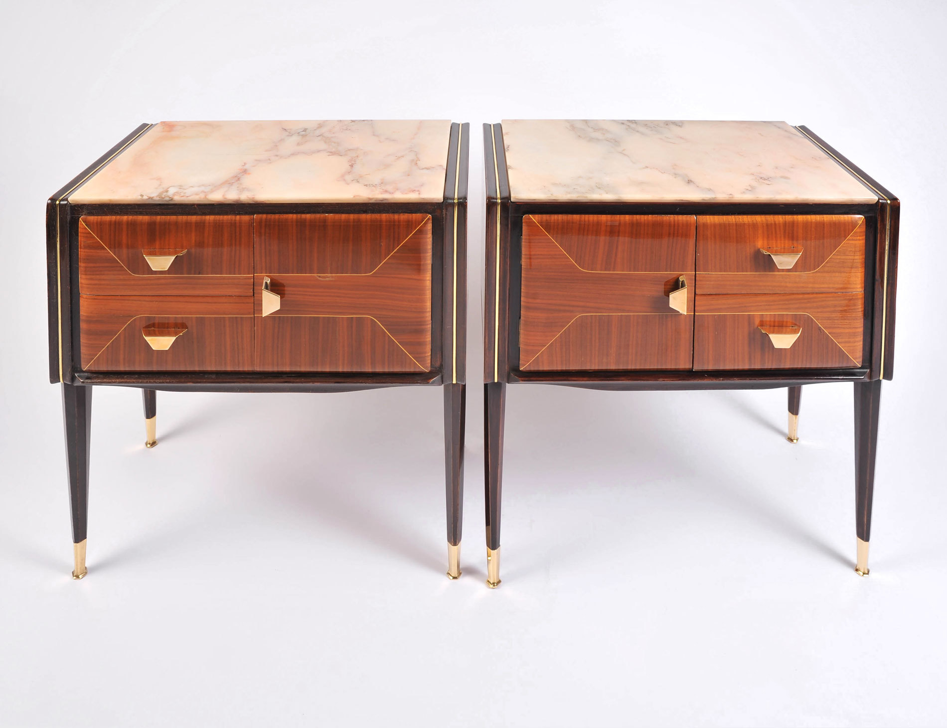 Pair Italian Bedsides Marble Tops 02