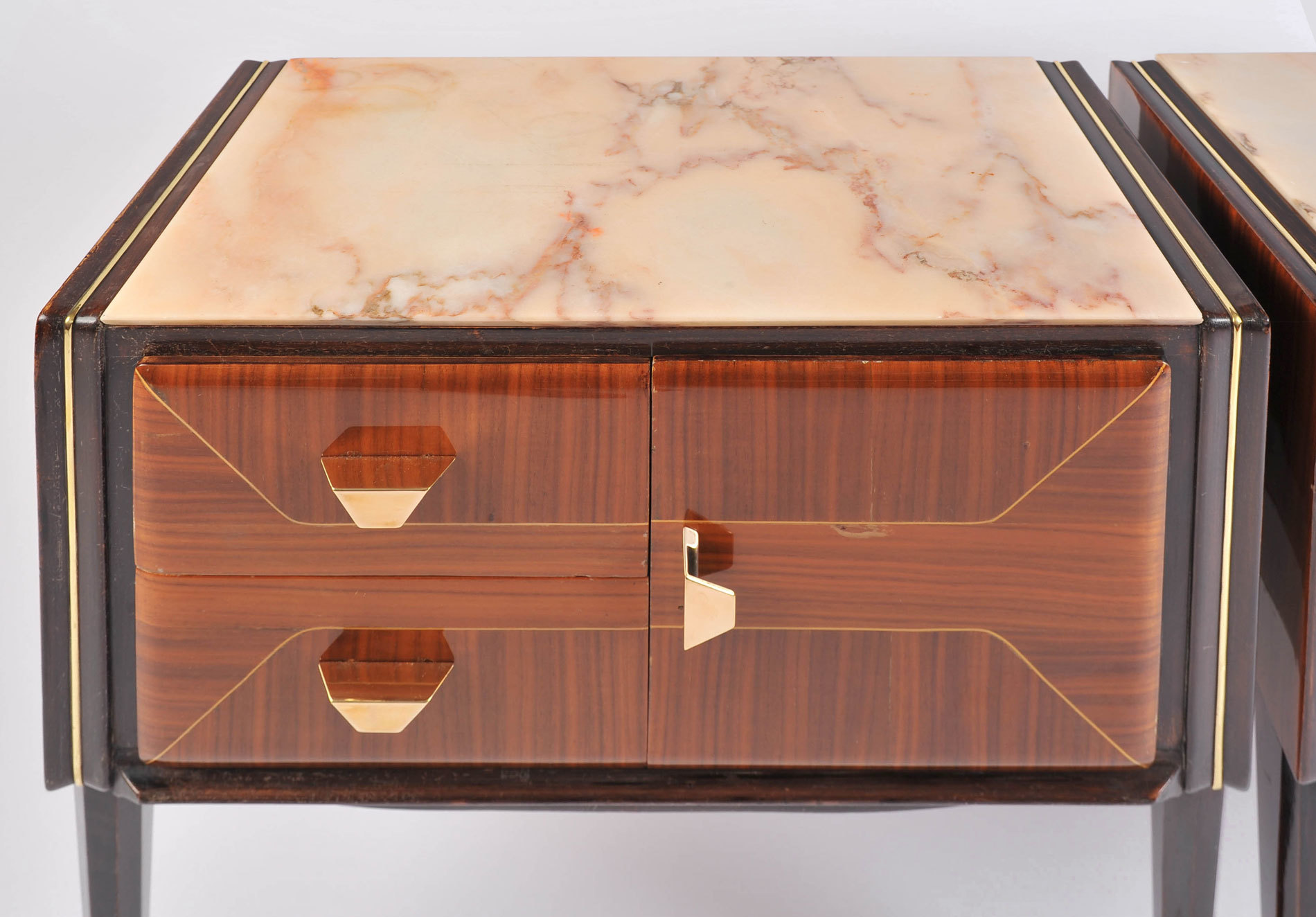 Pair Italian Bedsides Marble Tops 05