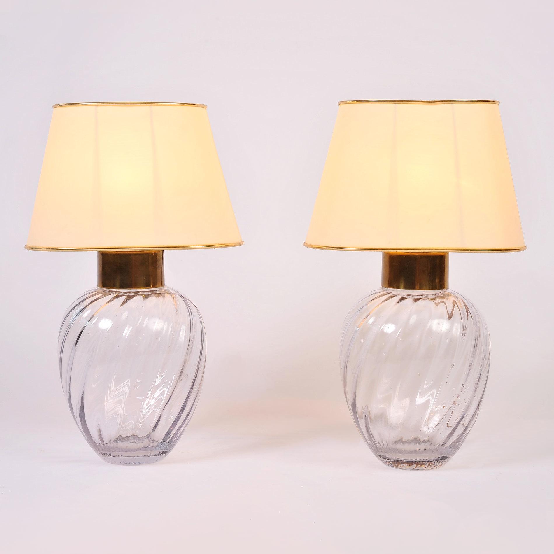 Pair Italian Glass Lamps 01